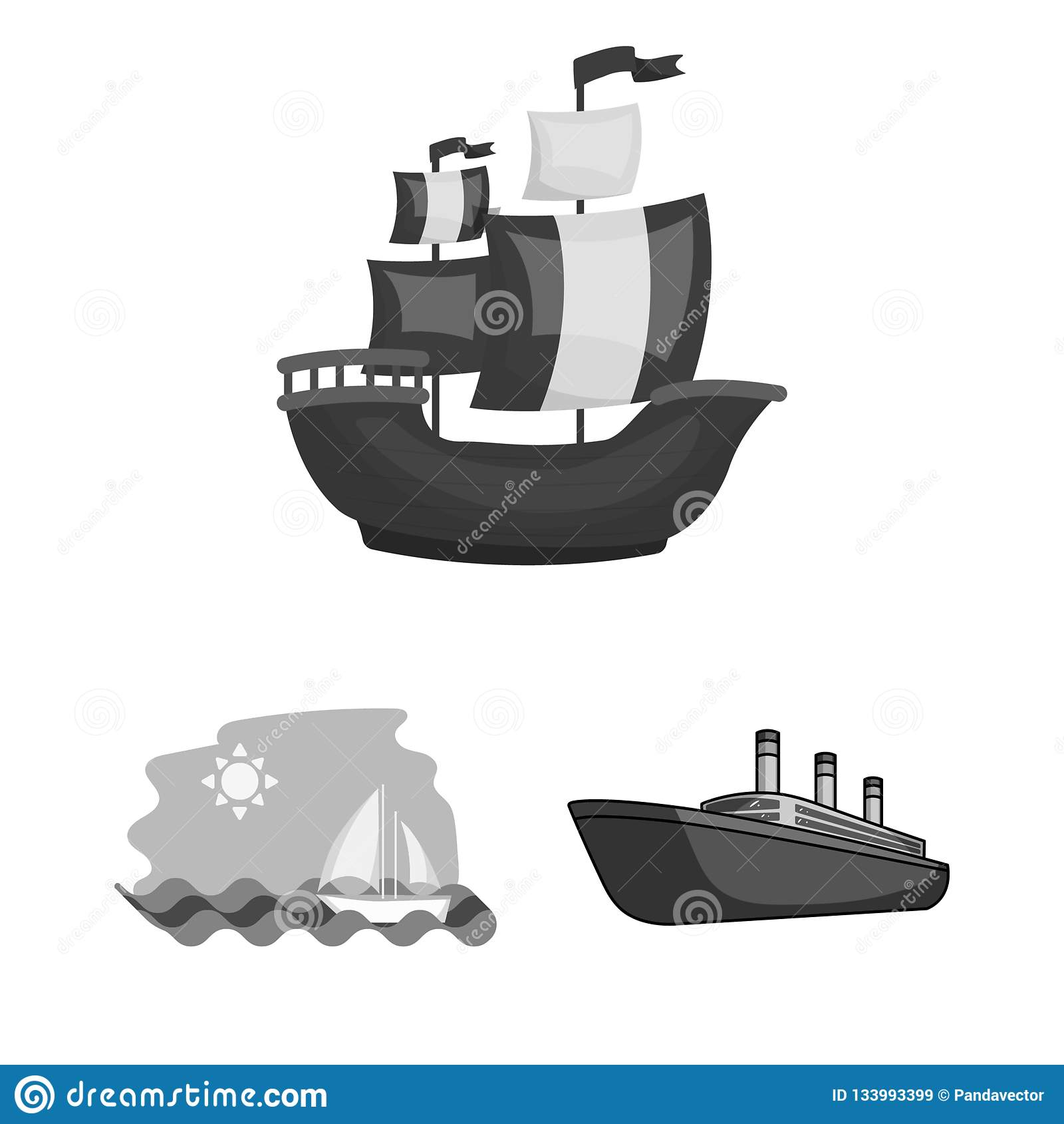 Vektordesign av yacht- och skepplogoen Samling av yacht- och kryssningvektorsymbolen för materiel