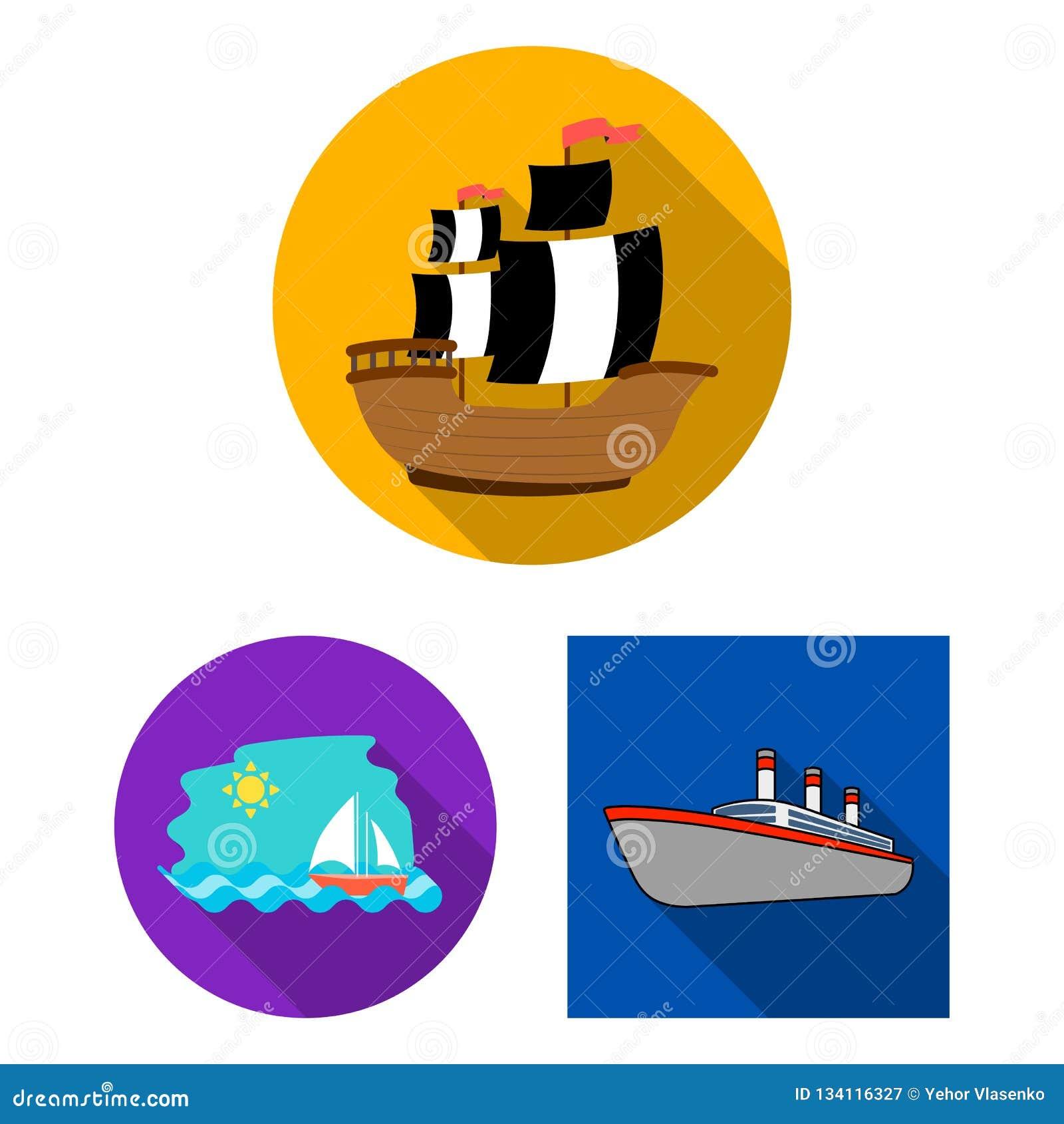Vektordesign av yacht- och skepptecknet Ställ in av illustration för yacht- och kryssningmaterielvektor