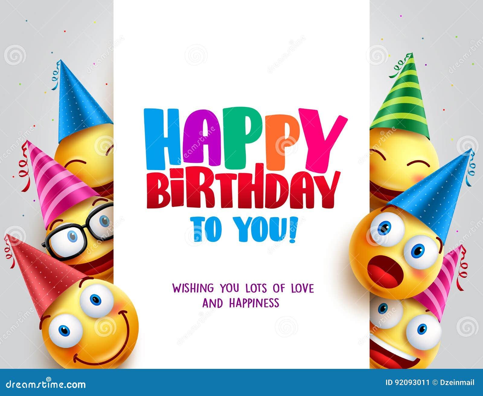 Vektordesign för lycklig födelsedag med smileys som bär födelsedaghatten