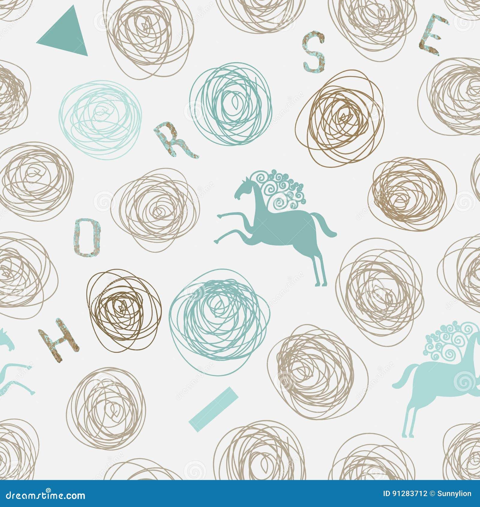 Vektordesign för tyg, textil, kort, rengöringsduk Modell med hand drog linjer, geometriskt och konturer av hästar