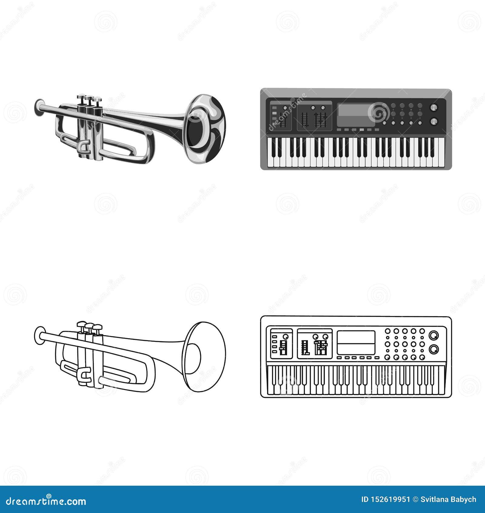 Vektordesignen av musik och trimmar symbolen Samling av musik- och hj?lpmedelvektorsymbolen f?r materiel