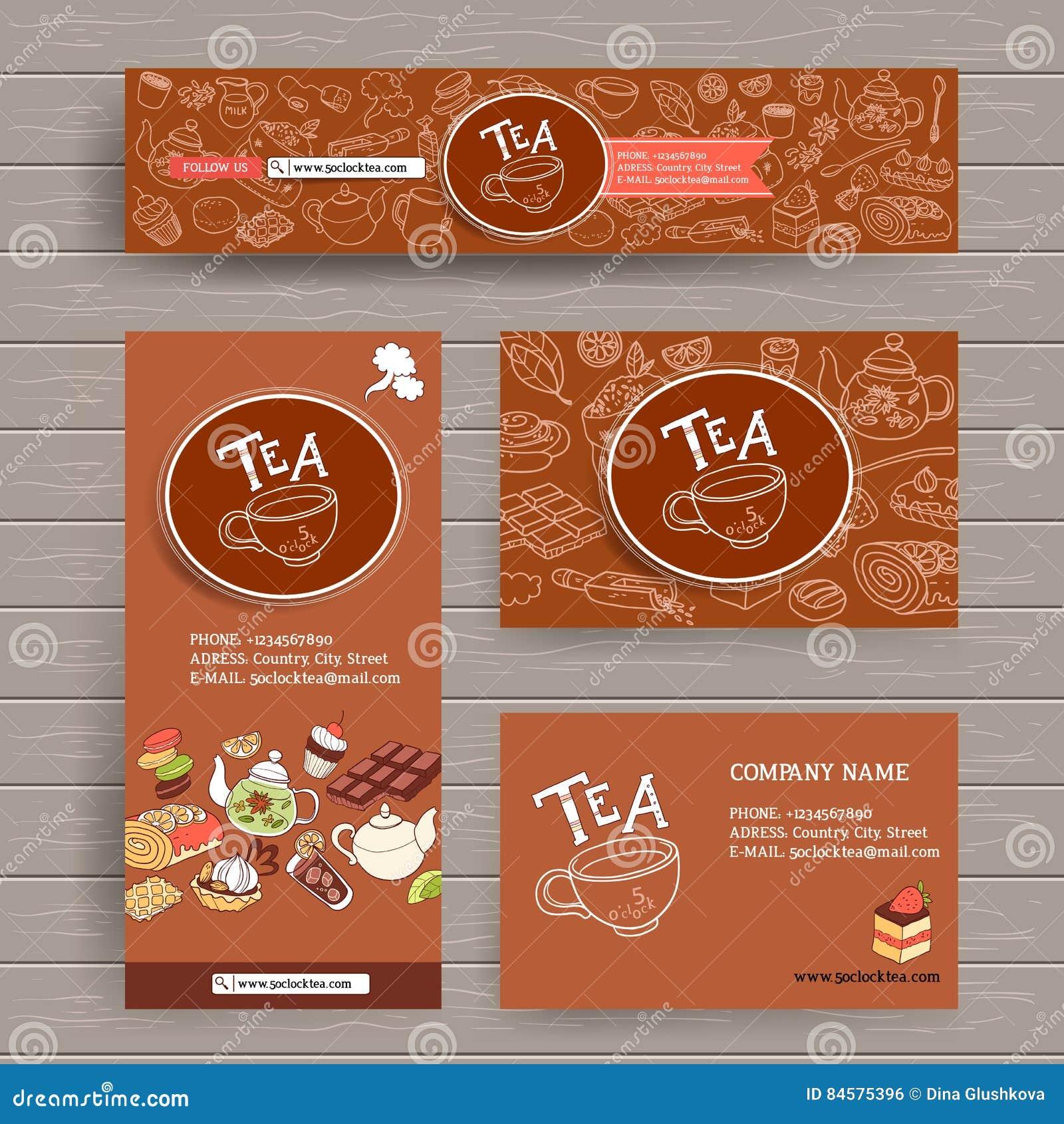 Vektordesignschablone Für Teeshop Oder Café Stationieren