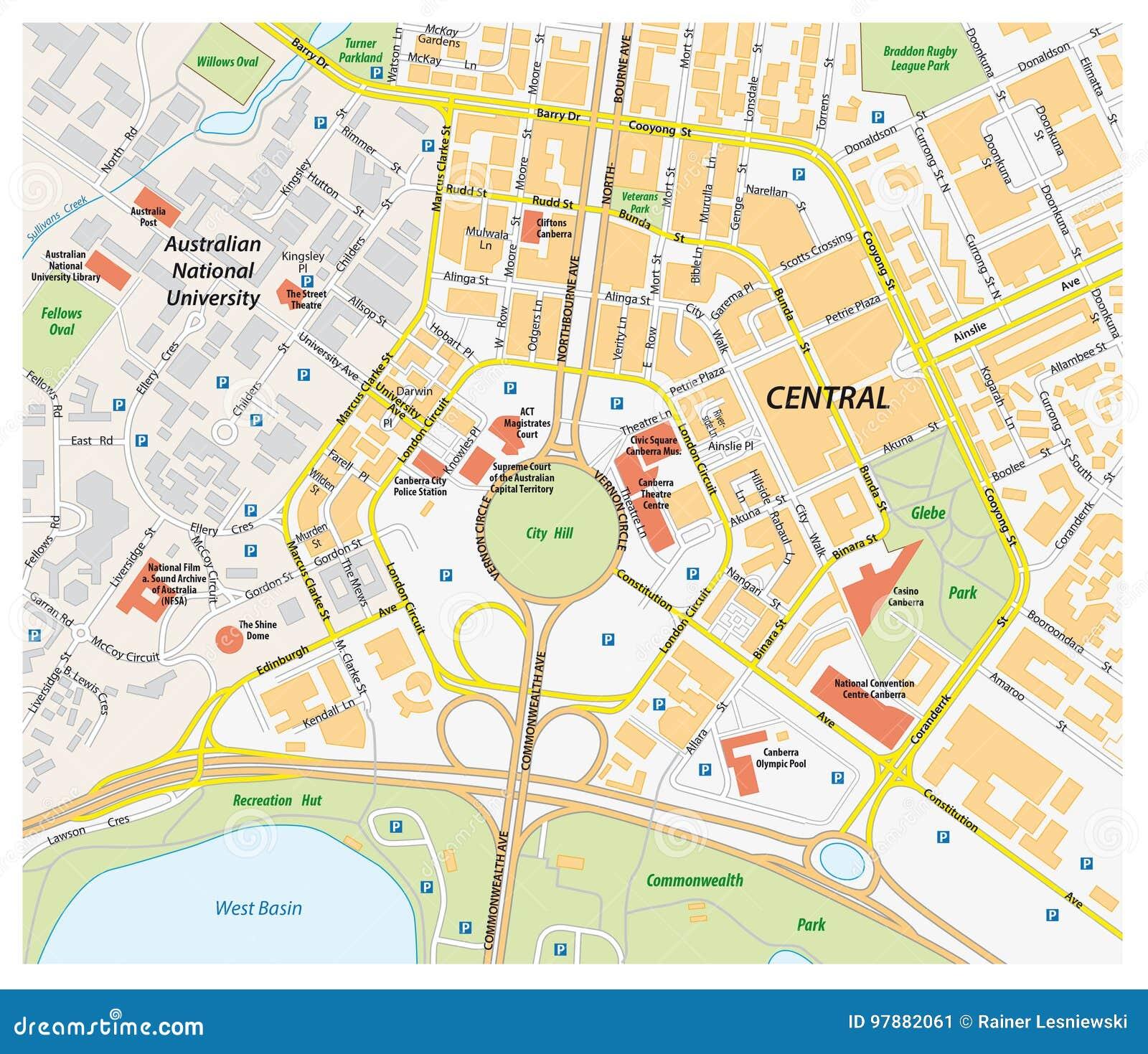 Vektorfärdplan av centrala canberra, Australien