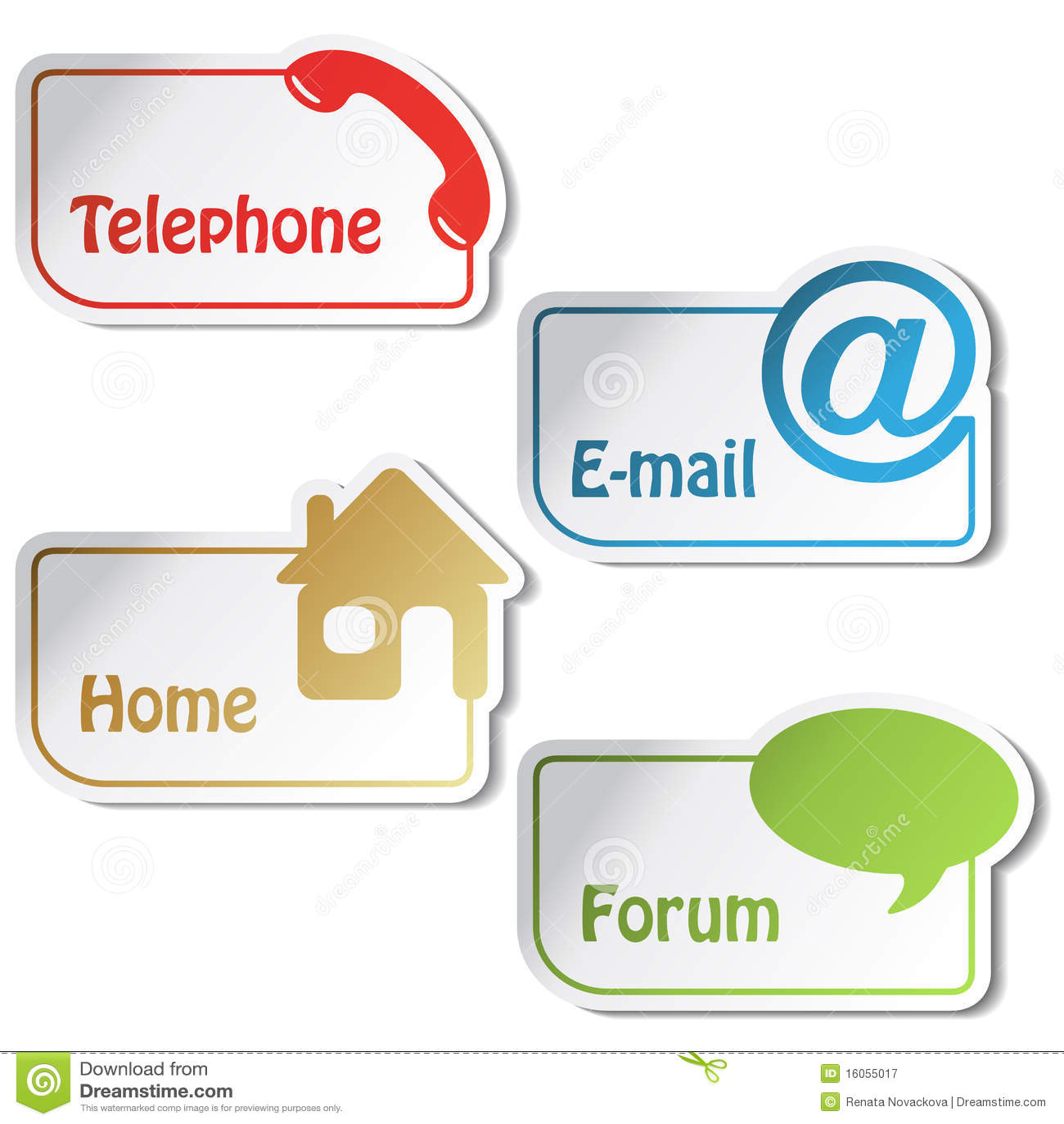 Vektorfahnen - Telefon, eMail, Haus, Forum