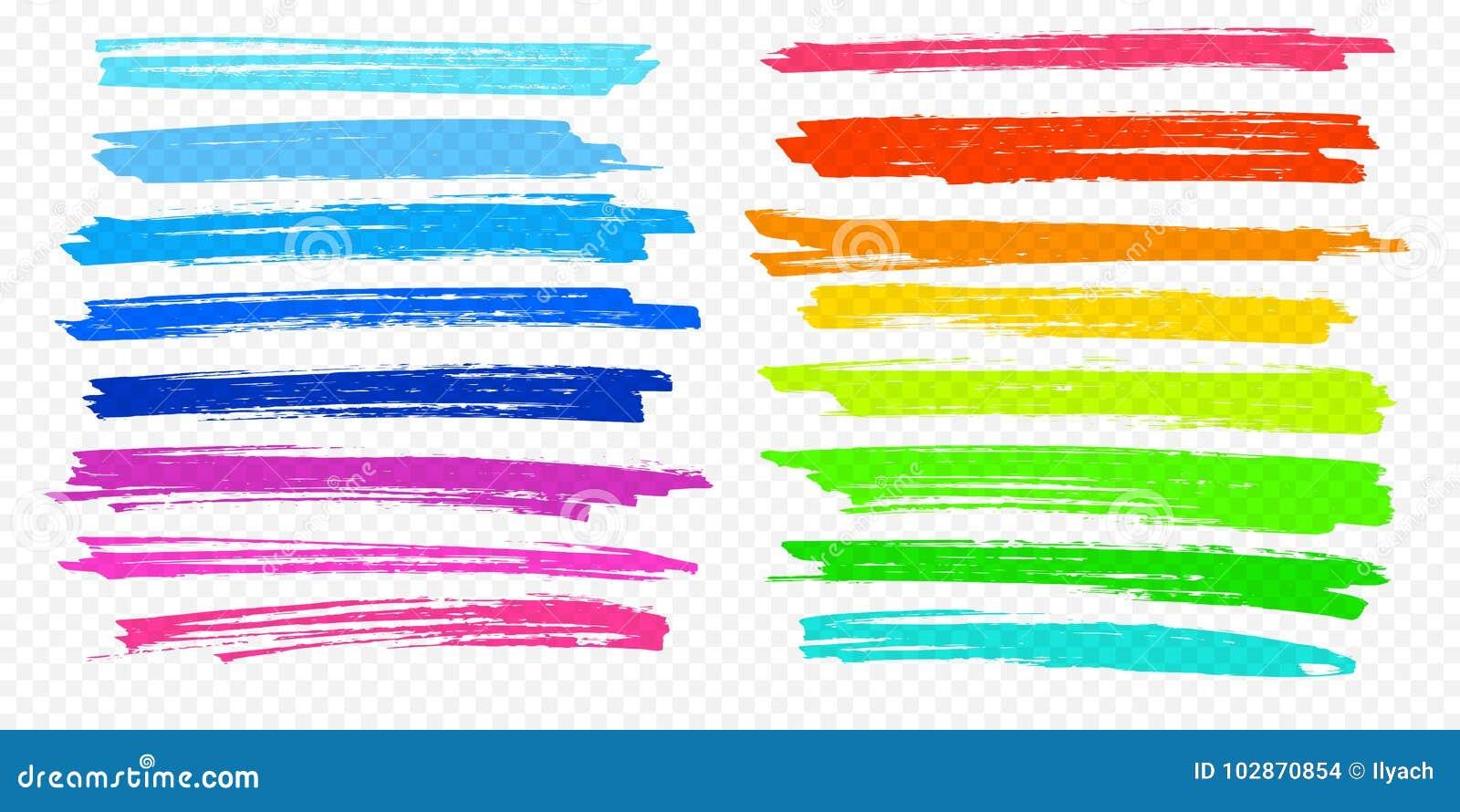 Vektorfarbmarkierungsstiftlinien des Höhepunktbürstenanschlags unterstreichen gesetzte transparenten Hintergrund