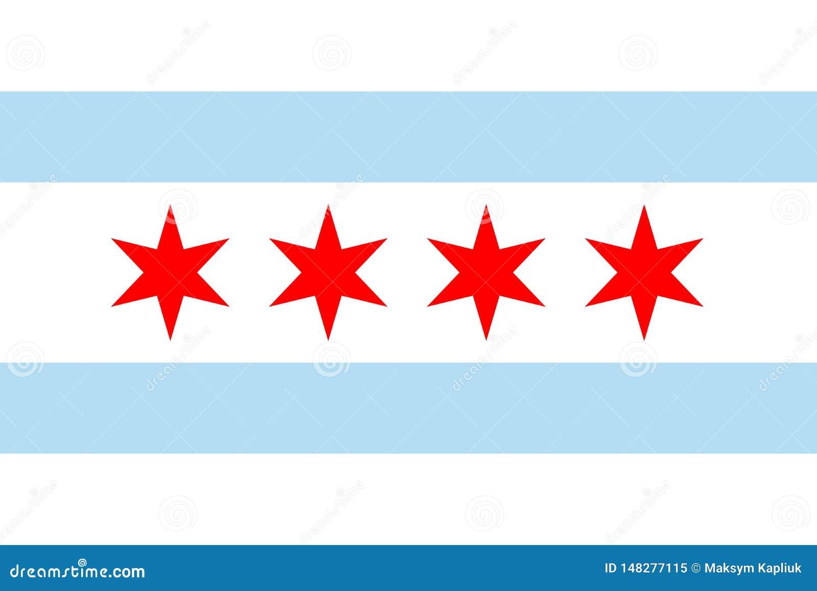 Vektorflagga av Chicago, Illinois Amerika tillst?nd f?renade