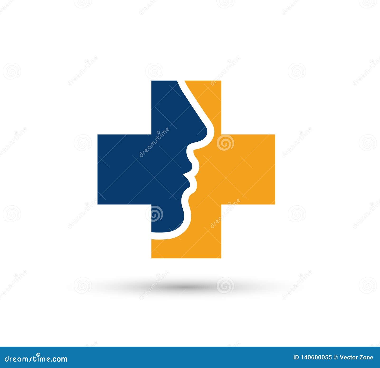 Vektorframsidaflicka, omsorg, skönhet medicinska Logo Icon Design