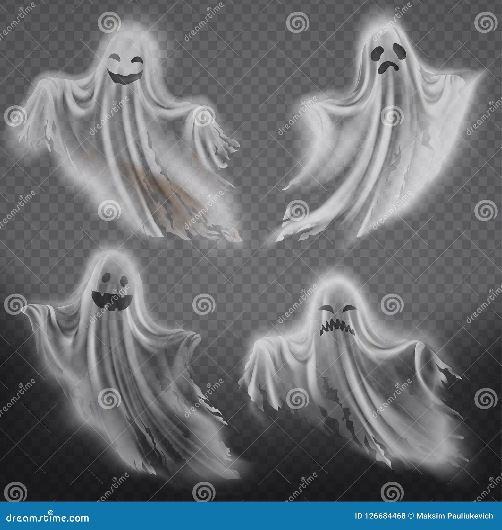Vektorgeister, Phantome eingestellt Gespenstischer Geist Halloweens