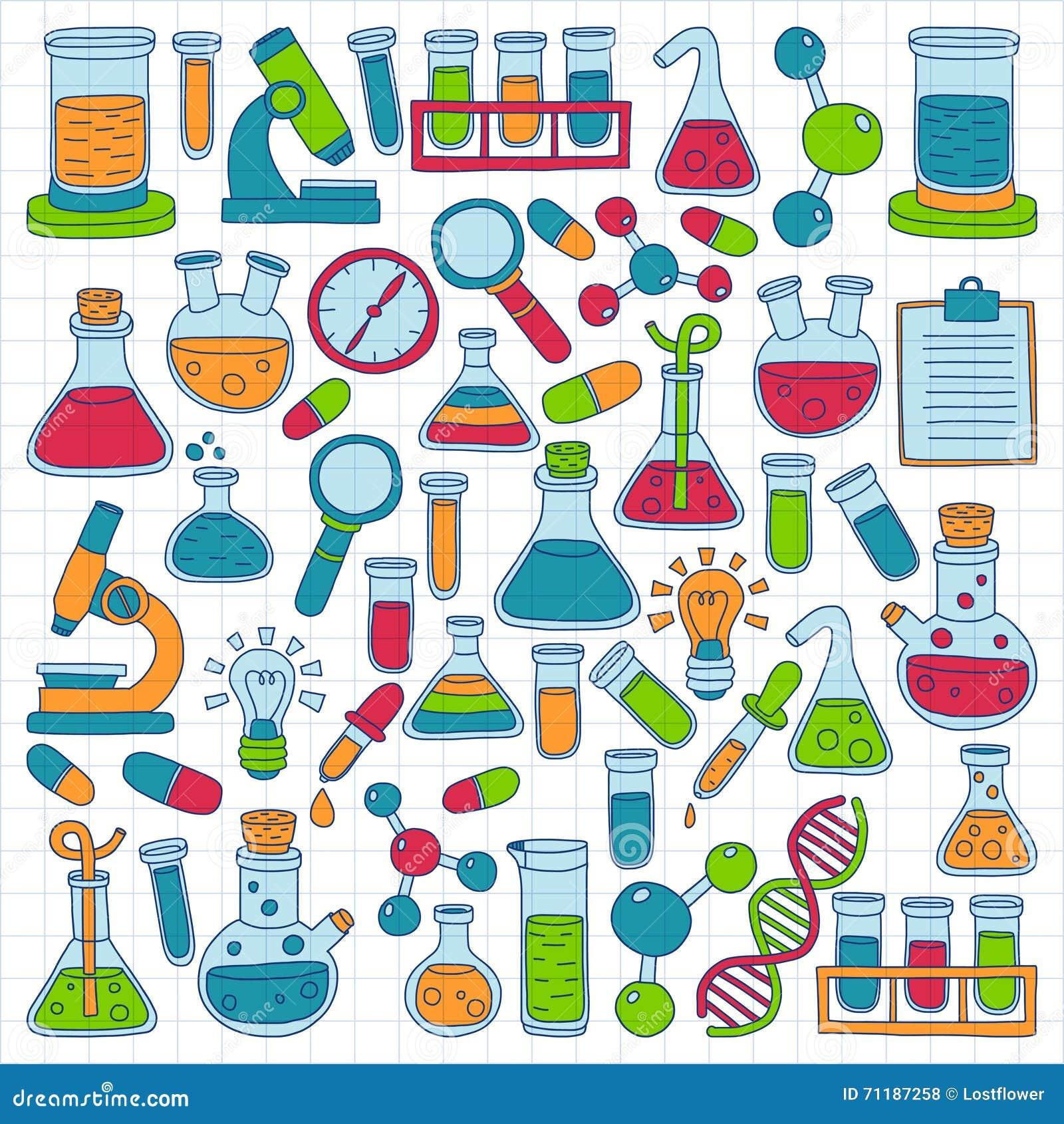 vektorgekritzelsatz naturwissenschaften der chemie science experiment clip art free Safety Goggles Clip Art