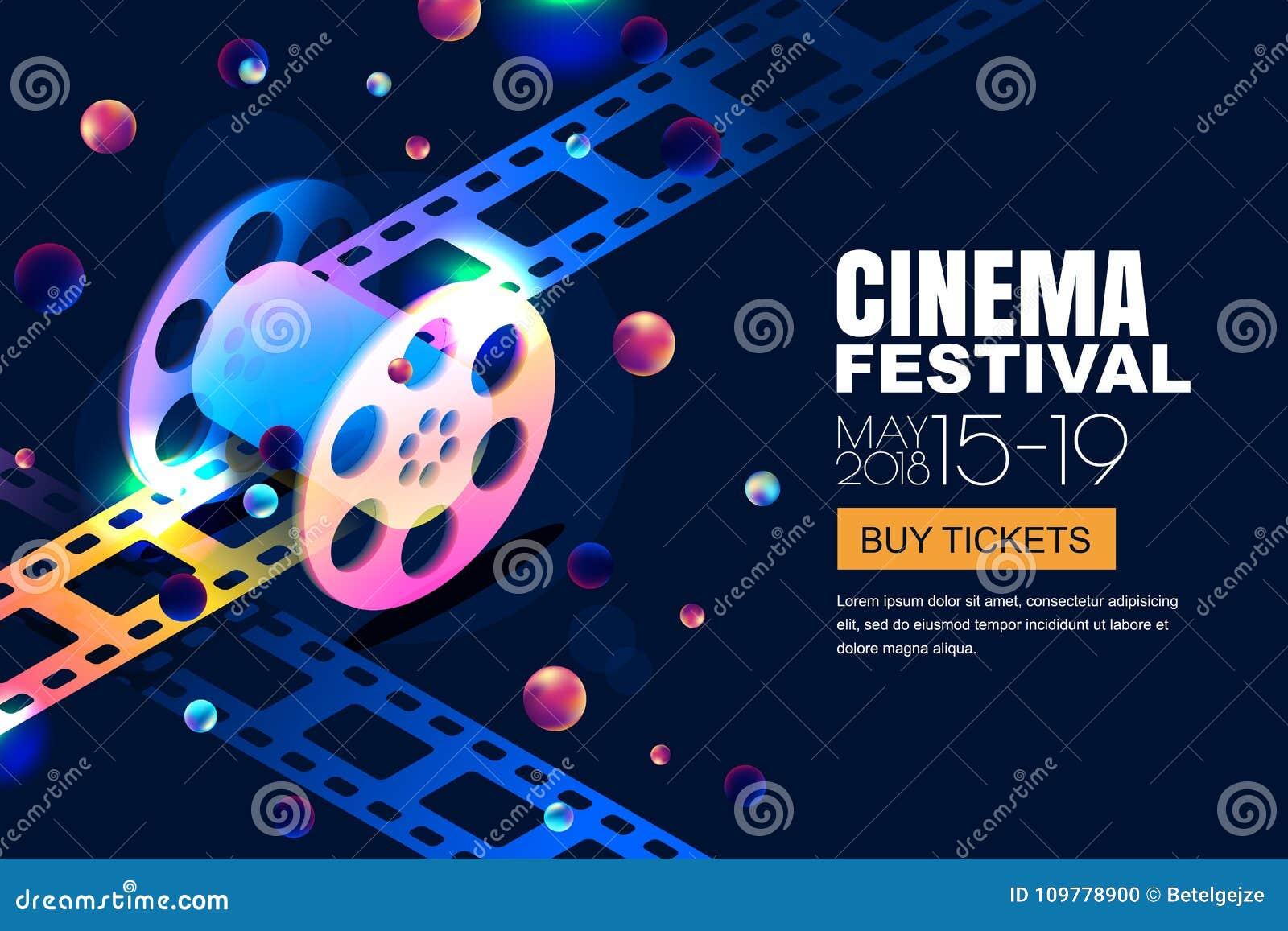 Vektorglühende Neonkino-Festivalfahne Filmrolle in der isometrischen Art 3d auf abstrakte Nachtkosmischem Himmelhintergrund