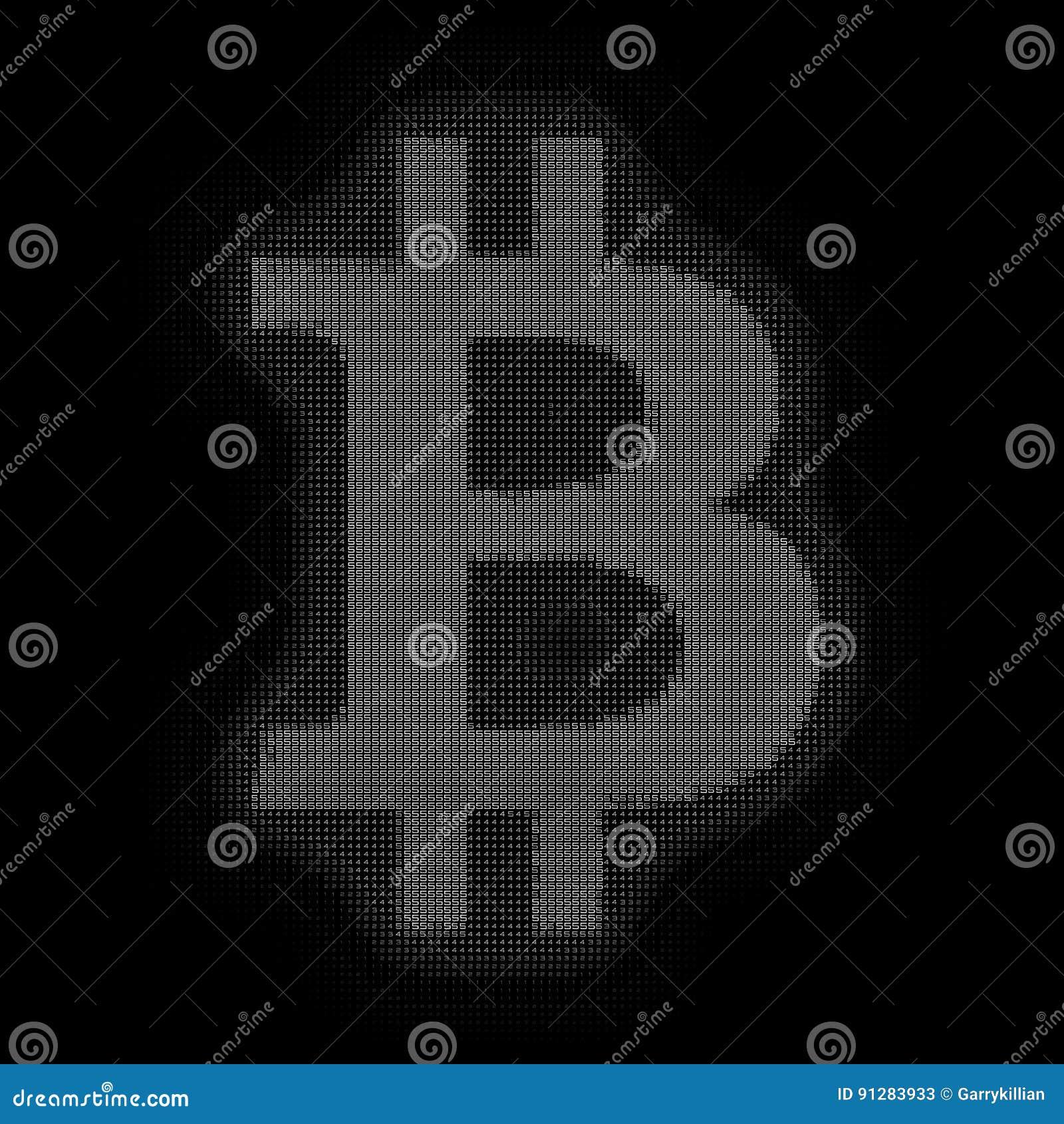 VektorgråtonBitcoin symbol som konstrueras med nummer Bitcoin blockchainöverföring Framställning för datorkod