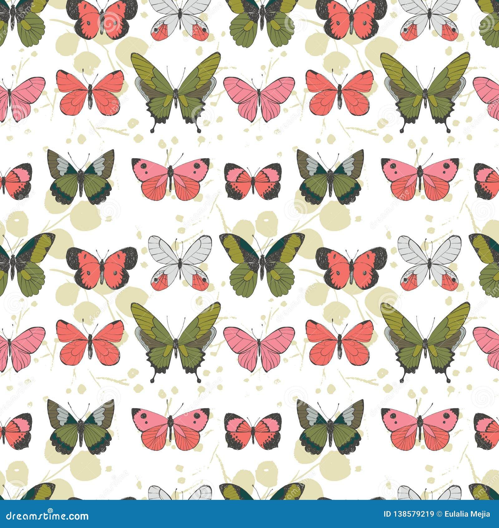 Vektorgrün-, korallenrotes, rosa und hellgrauesfliegendes der Schmetterlinge nahtloses Muster auf hellfarbigem Blatthintergrund