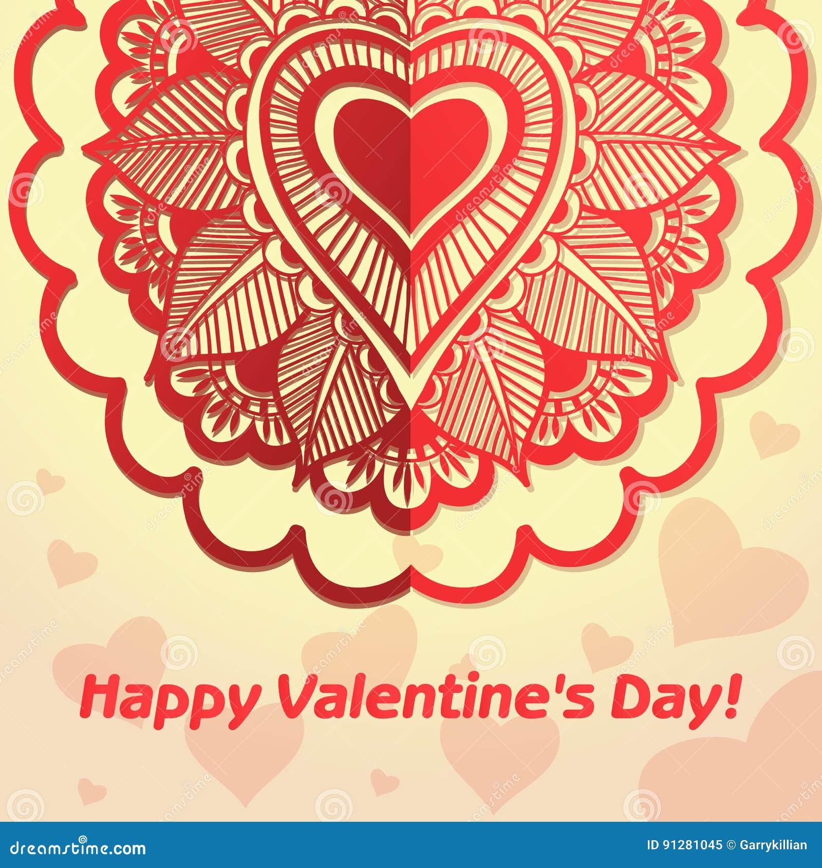 Vektorhälsningkort för dag för valentin` s blommar hjärtor