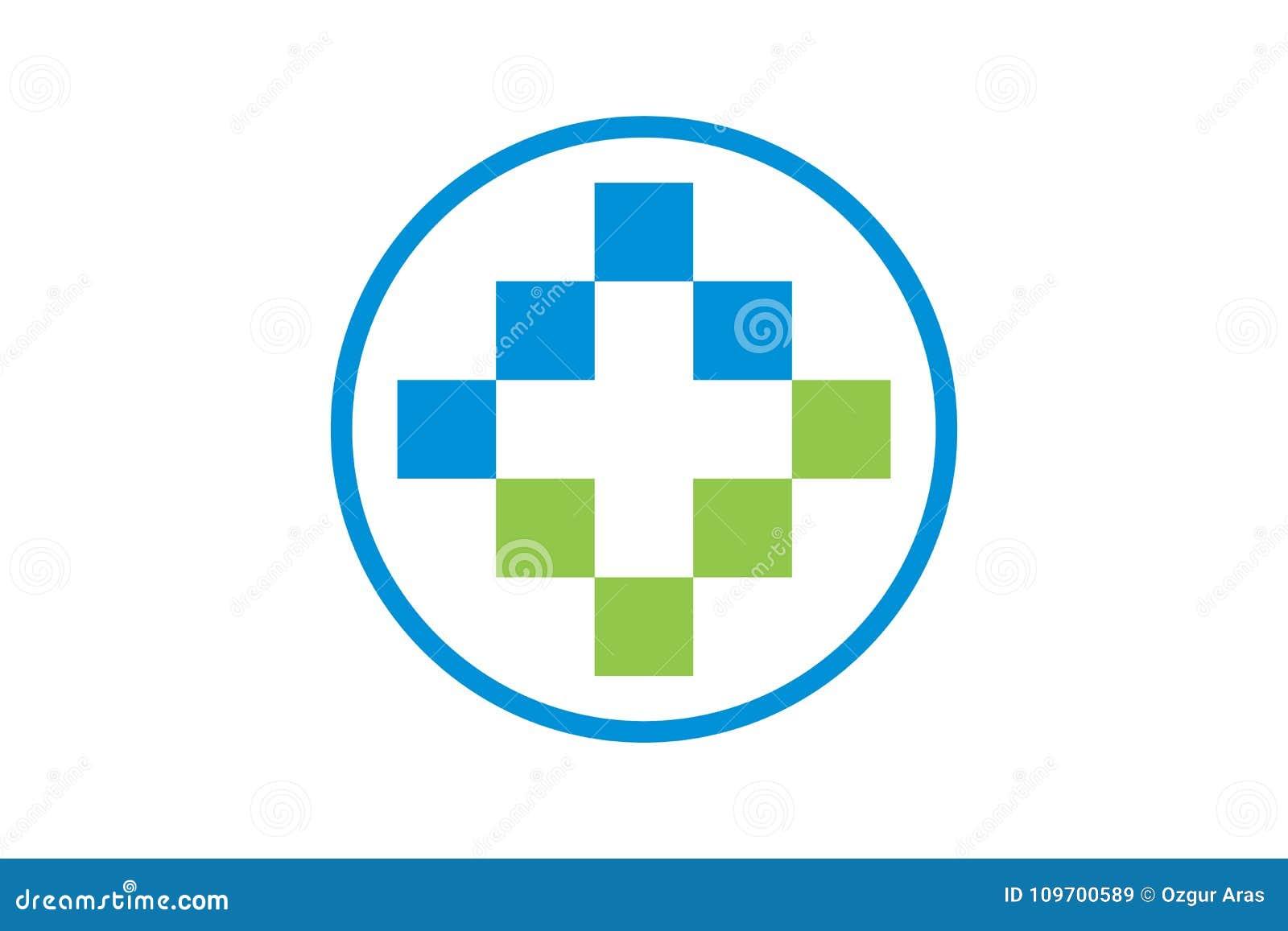 Vektorhälsovård och läkarundersökning Logo Template