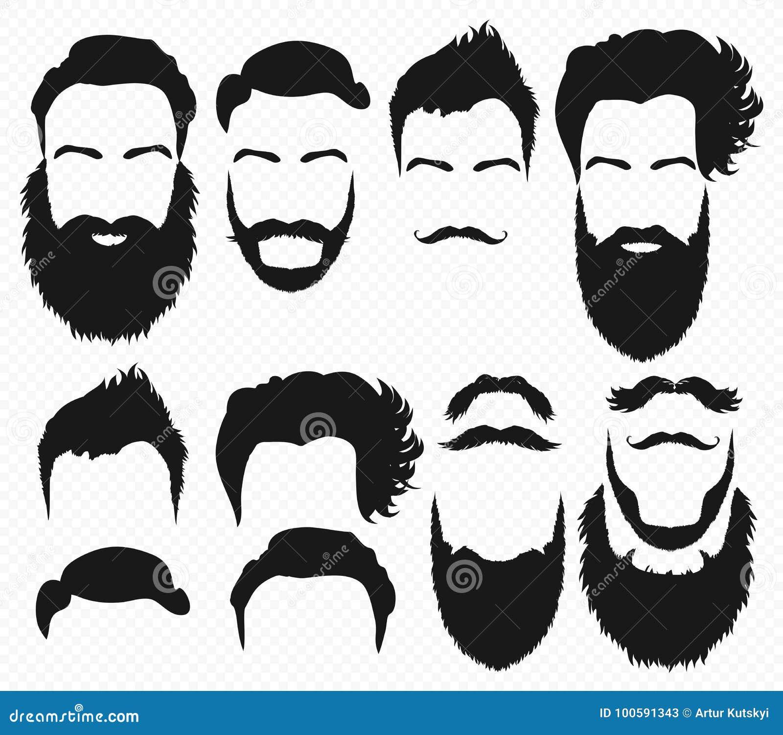 Vektorhår- och skäggformer planlägger konstruktörn med manvektorkonturn Skägg och mustasch för modekontursvart