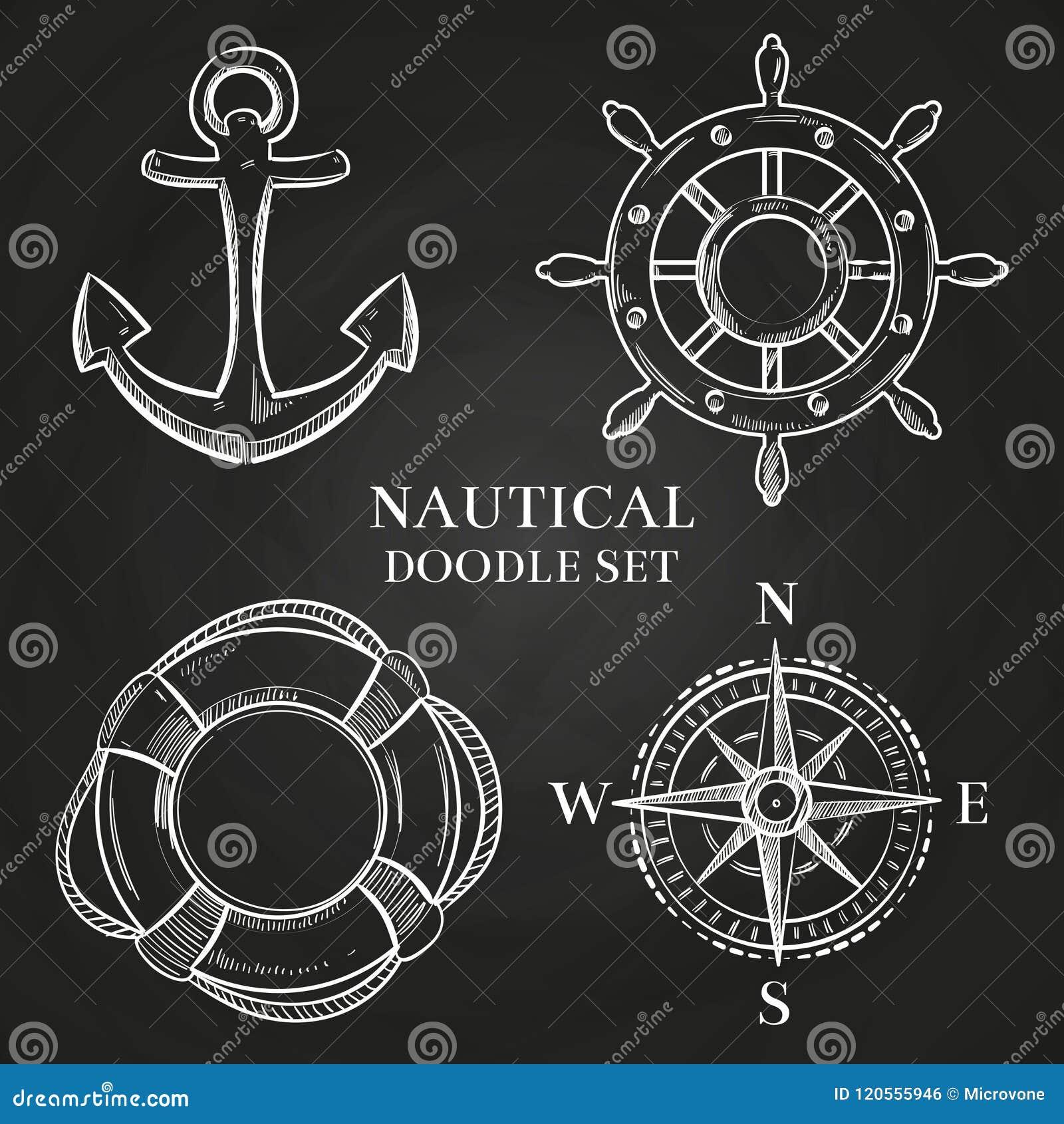 Vektorhandwheel, ankare, kompass och livboj
