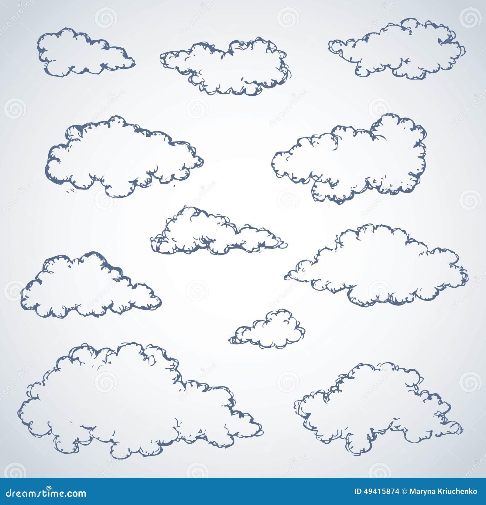 Download Vektorhandzeichen Wolken vektor abbildung. Illustration von bewölkt - 49415874