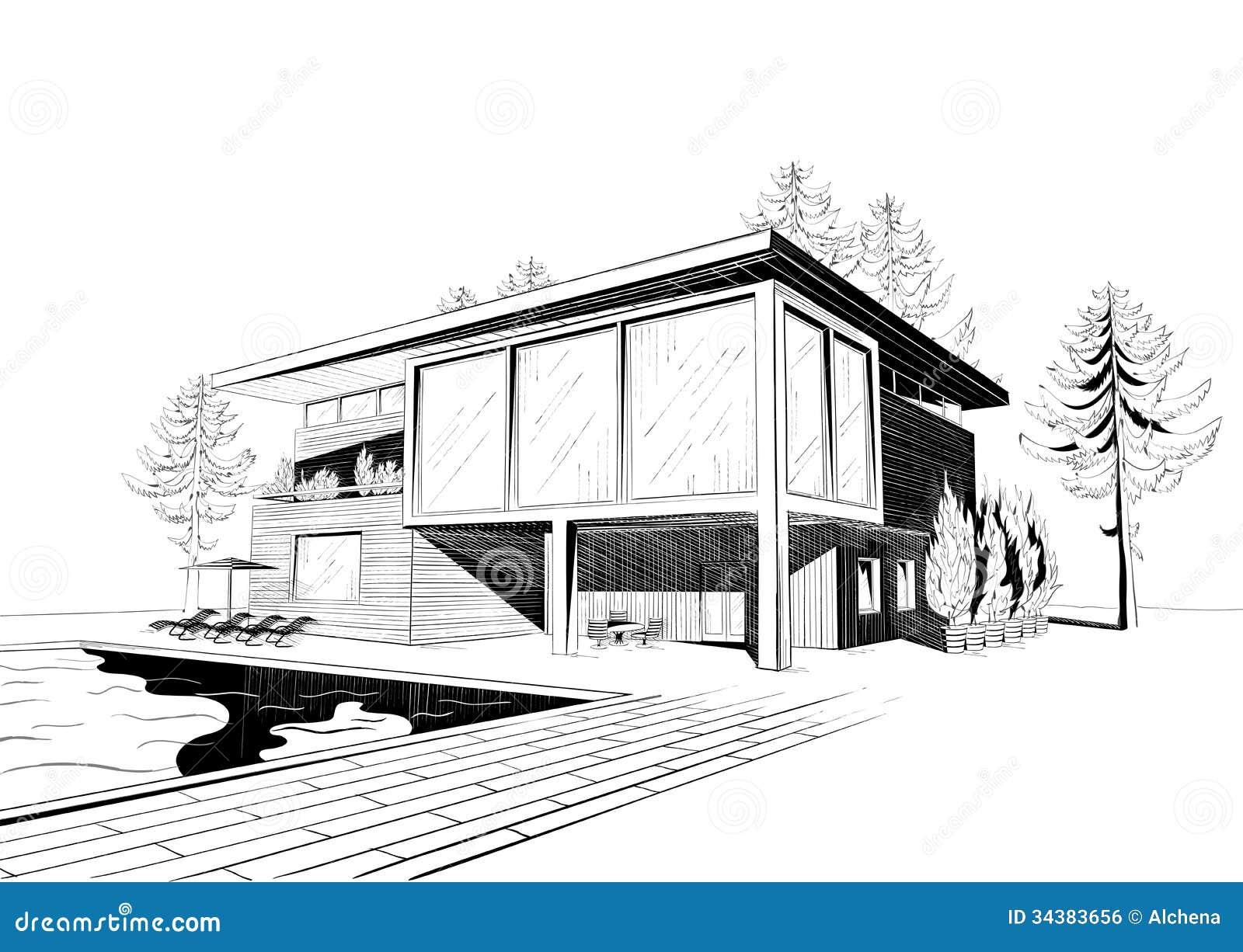 Vektorhintergrund mit modernem haus mit schwimmen vektor for Modernes haus zeichnung
