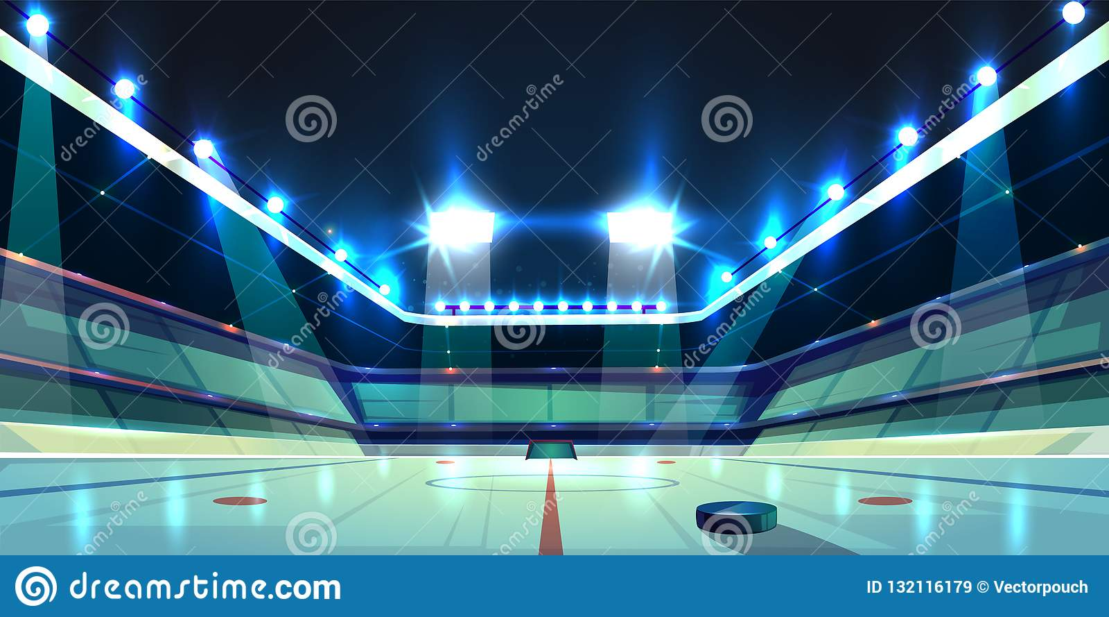 Vektorhockeyarena, isisbana med pucken