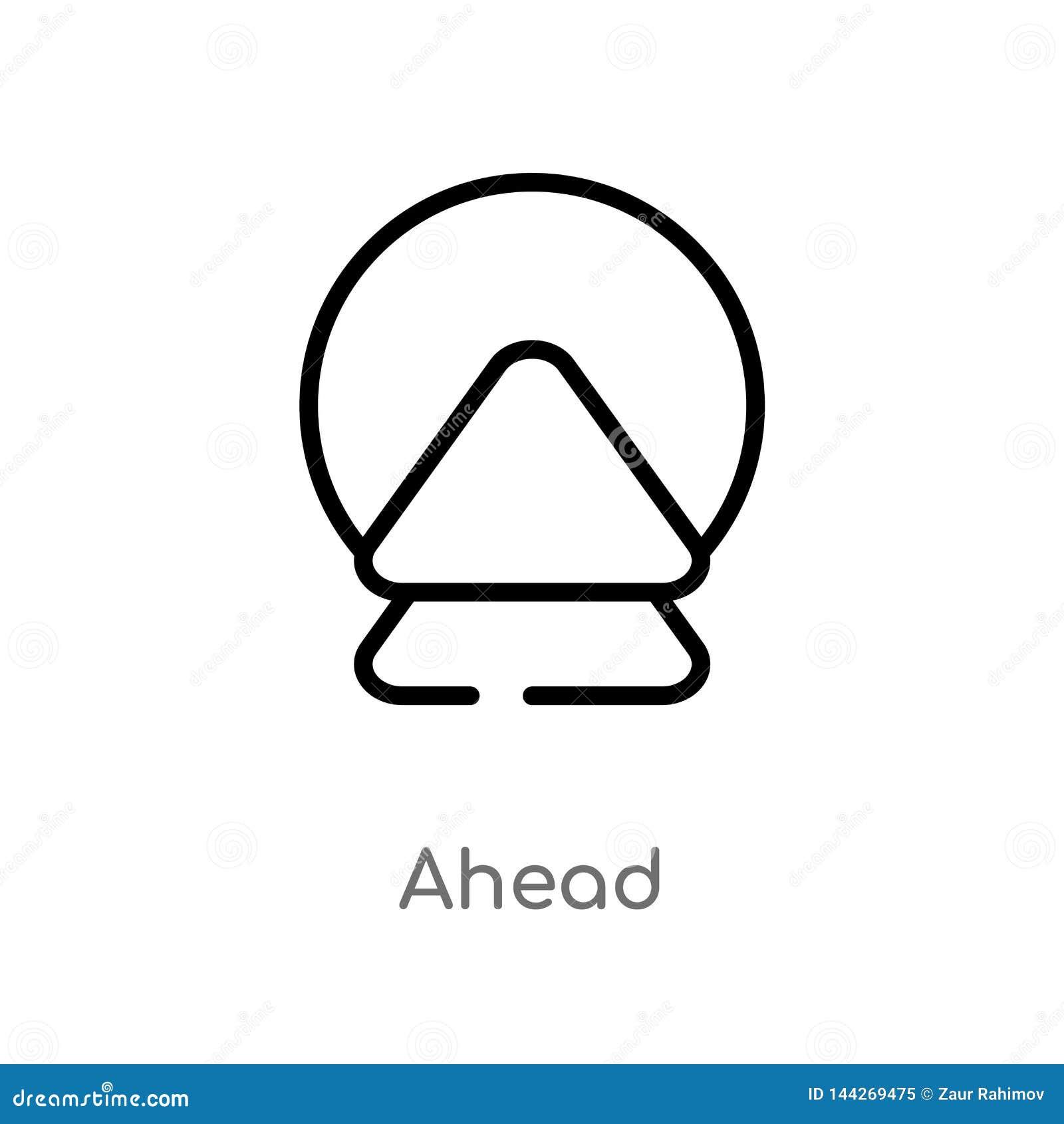 Vektorikone des Entwurfs voran lokalisiertes schwarzes einfaches Linienelementillustration vom wachsamen Konzept editable Ikone d