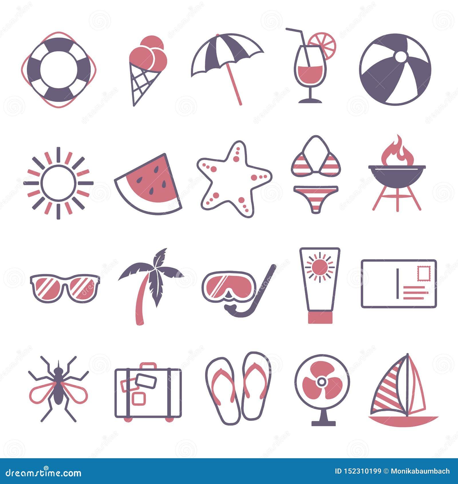 Vektorikone eingestellt für die Schaffung des infographics bezogen auf Sommer, Reise und Ferien, wie Cocktailgetränk, Wassermelon