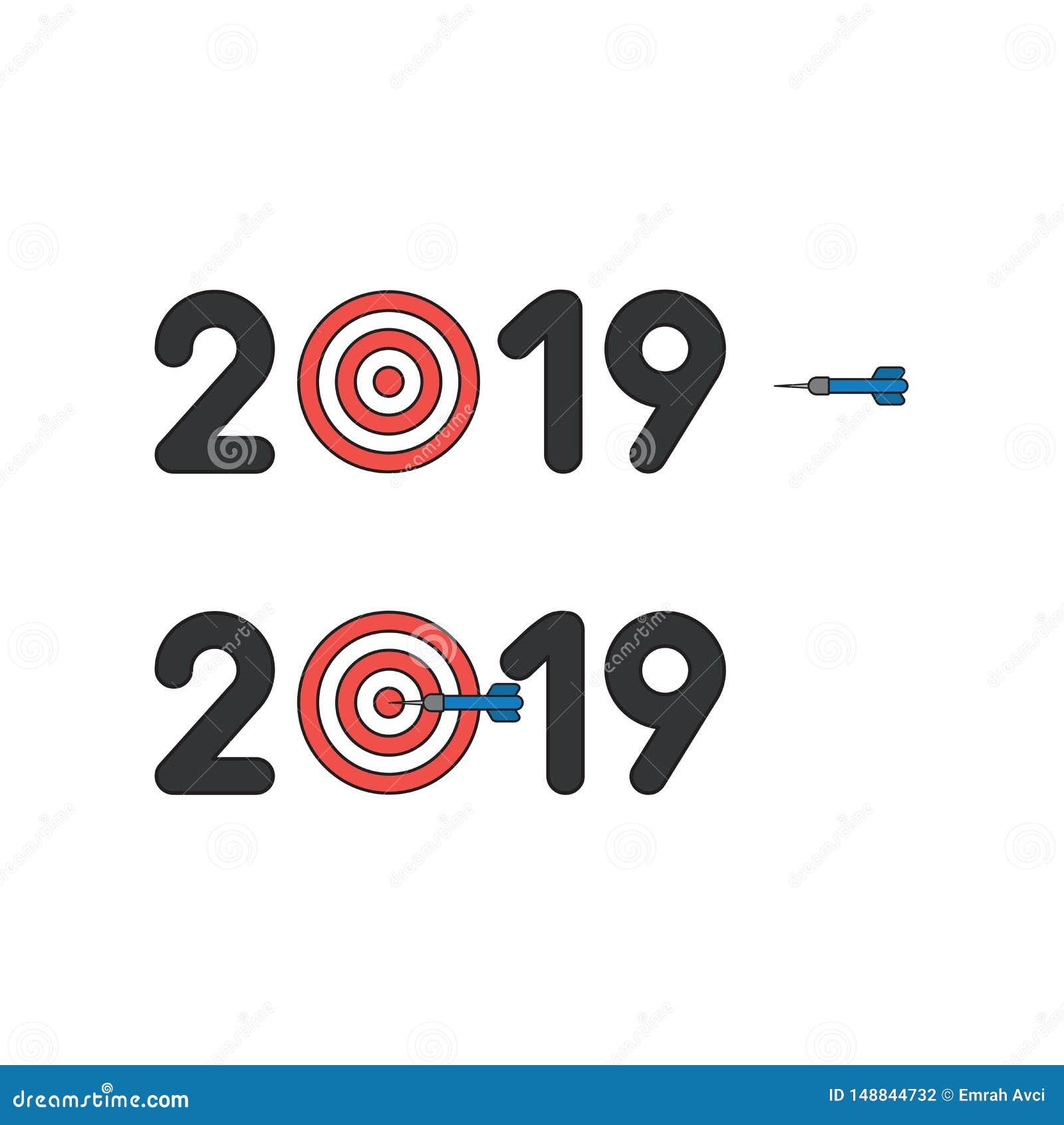 Vektorikonenkonzept von 2019 mit Stierauge und Pfeil in der Mitte