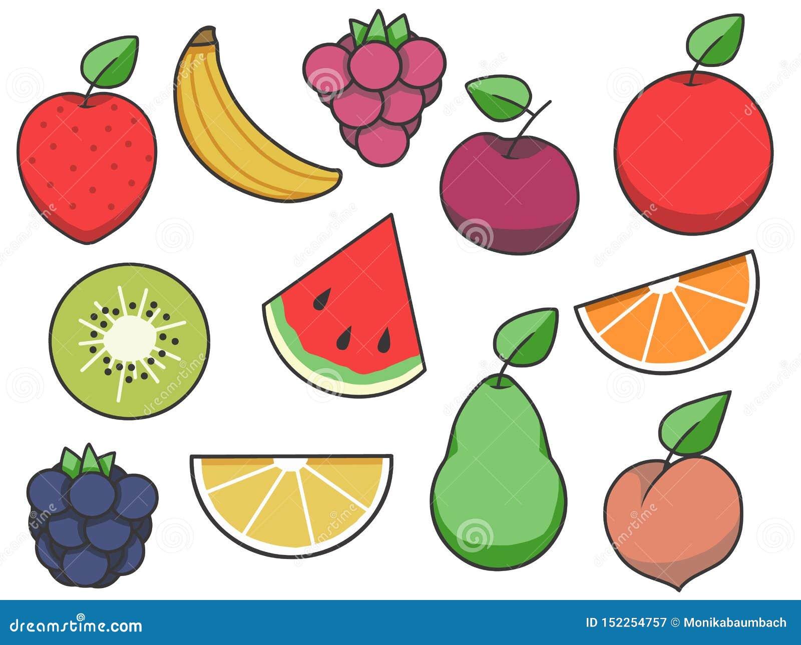 Vektorikonensammlung der einfachen Frucht mit Erdbeere, Apfel, Birne, Zitrone, Wassermelone und anderer Frucht