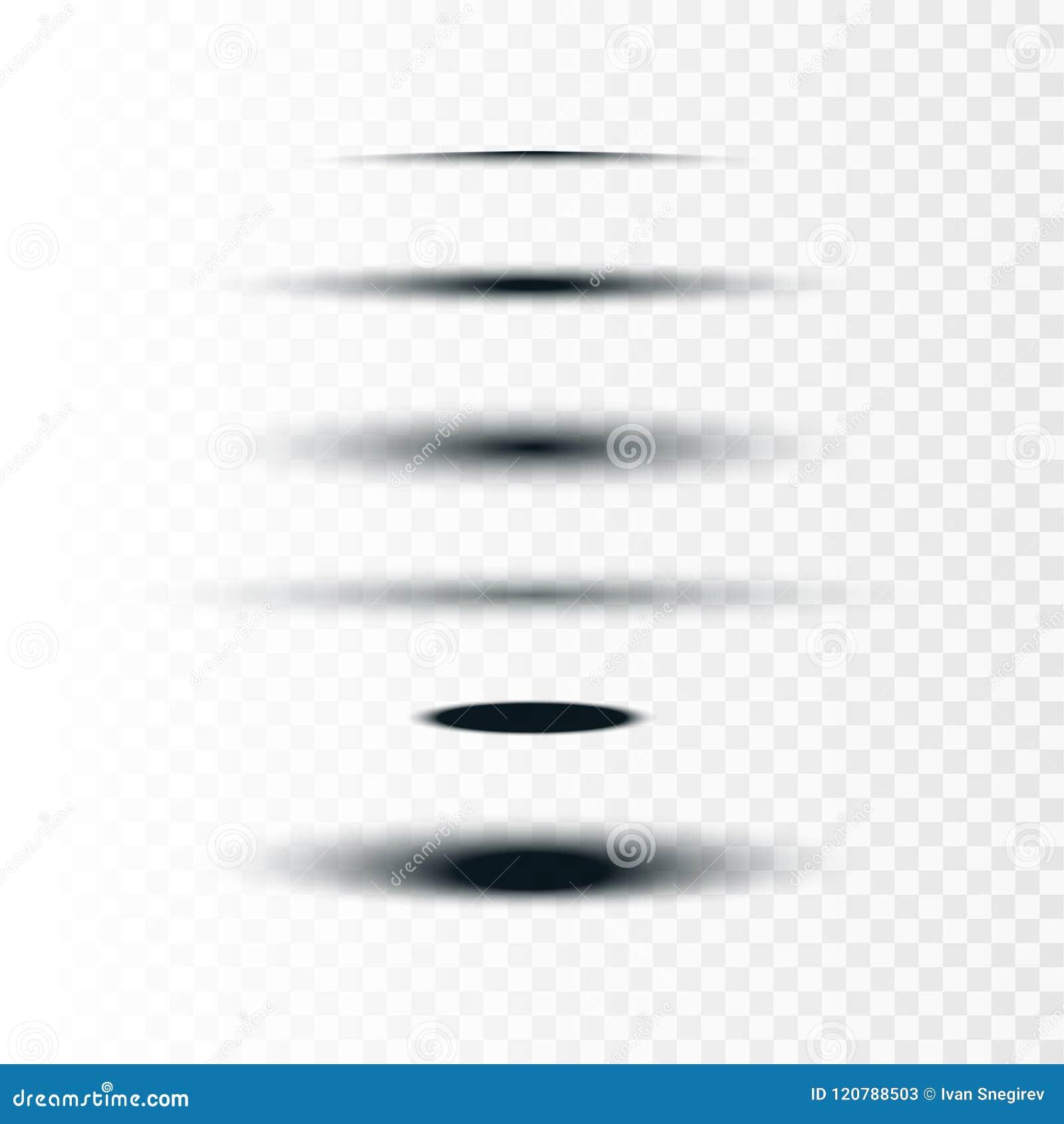 Vektorillustration auf Lager realistisch um und Ovalsatz Schatten lokalisiert auf transparentem Hintergrund Vorsprungsteiler senk