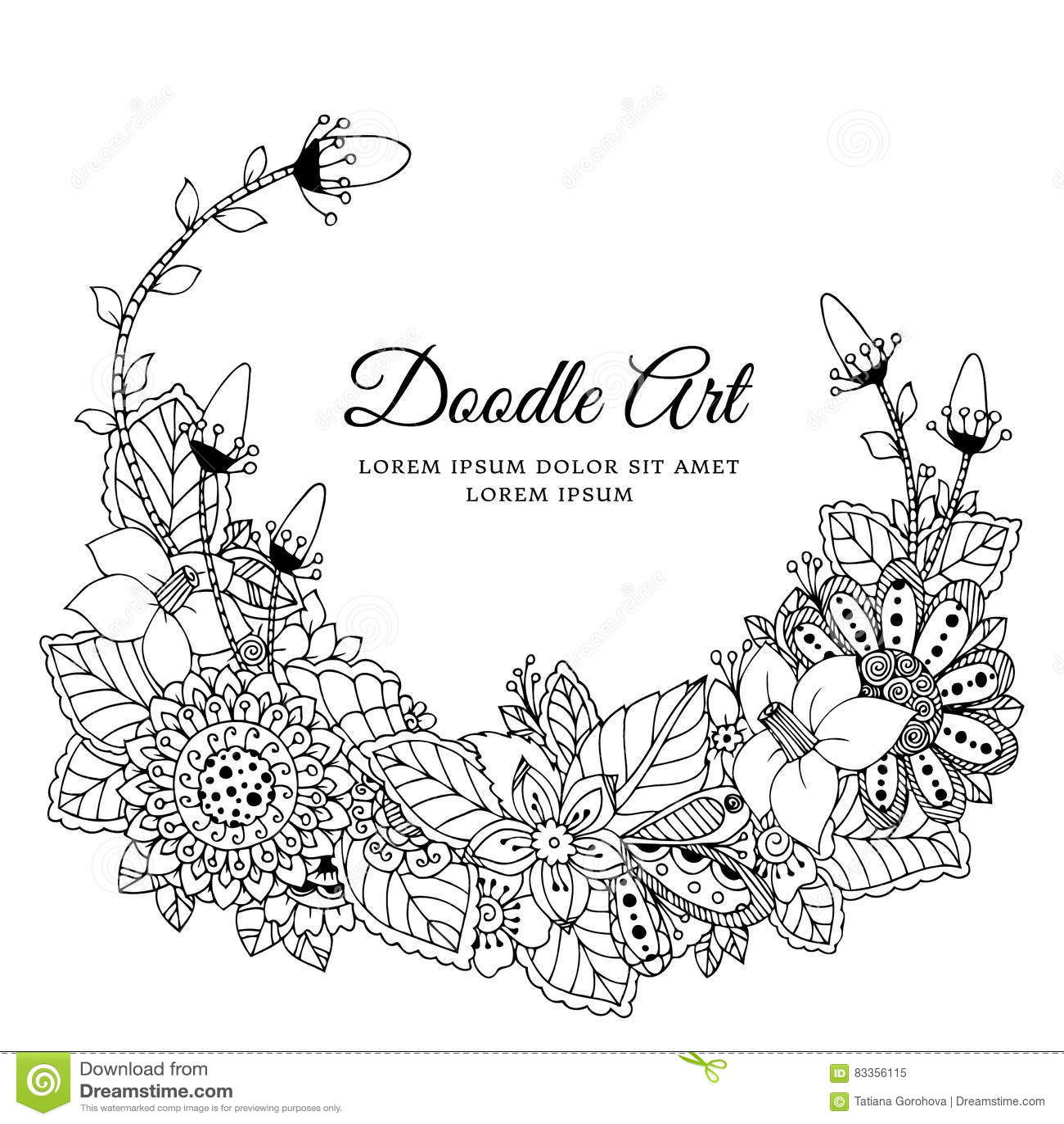 Vektorillustration av den blom- ramen Zen Tangle Dudlart Anti-spänning för färgläggningbok för vuxna människor