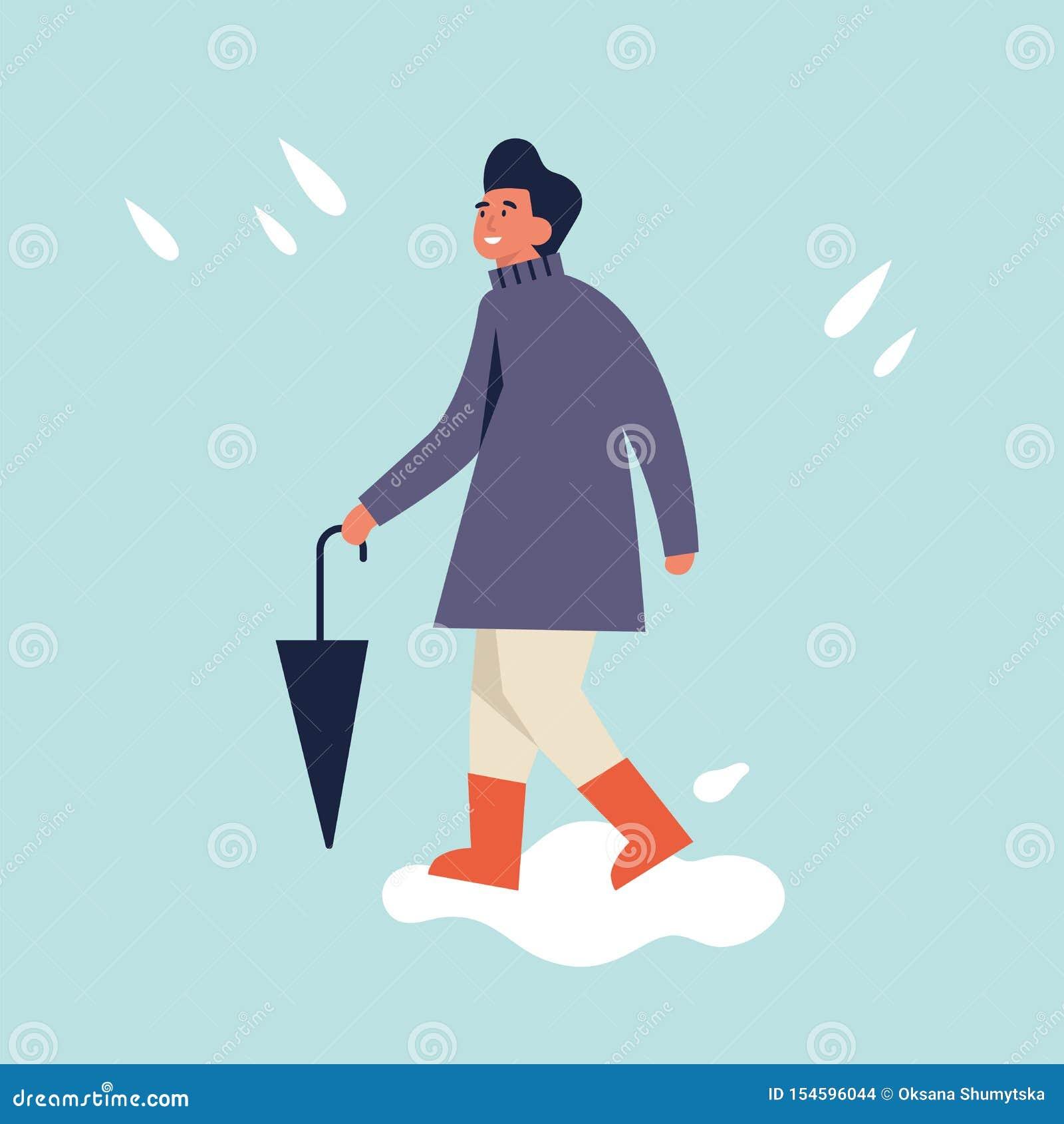 Vektorillustration av den lyckliga mannen i höstsäsongkläder Ung man som går och rymmer paraplyet regnigt v?der