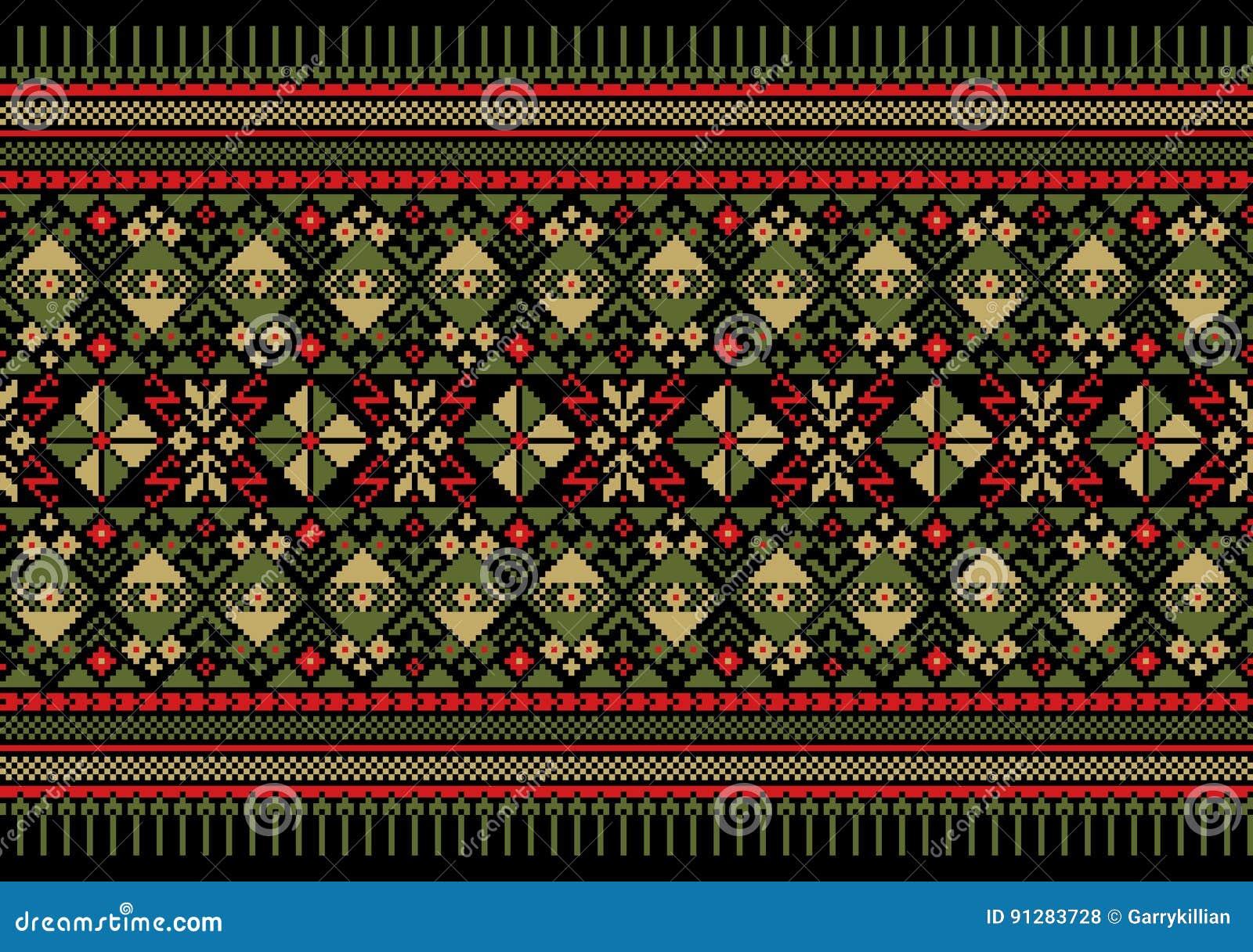 Vektorillustration av den ukrainska folk sömlösa modellprydnaden etnisk prydnad Gränsbeståndsdel
