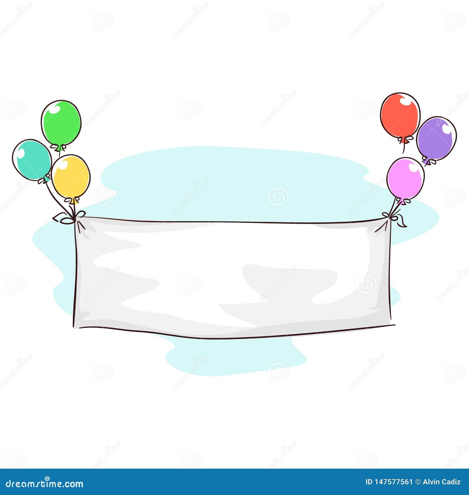 Vektorillustration av den vita tomma banertorkduken som binds i ballonger för födelsedagmeddelande
