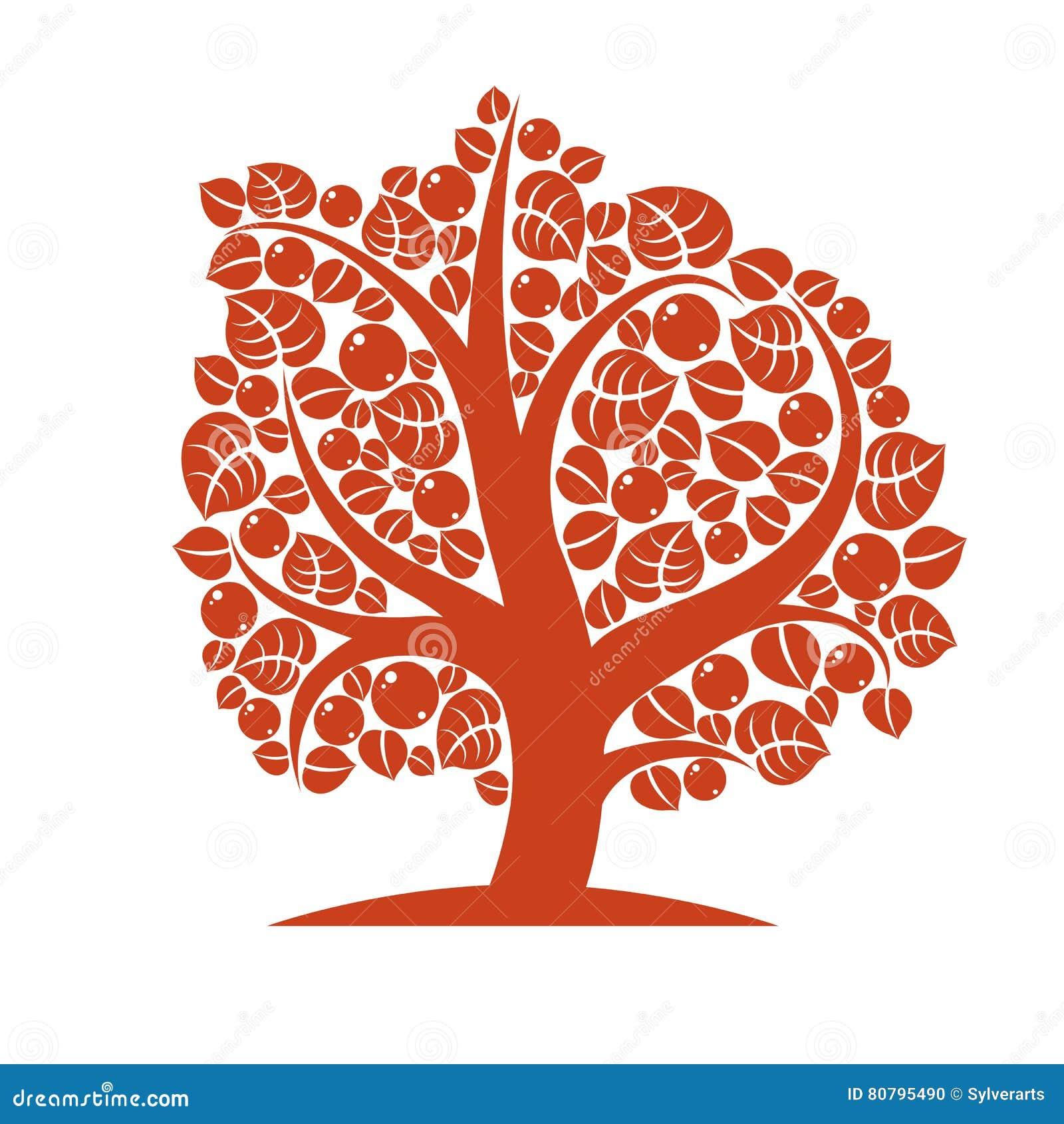 Vektorillustration av det stiliserade branchy trädet på vit b
