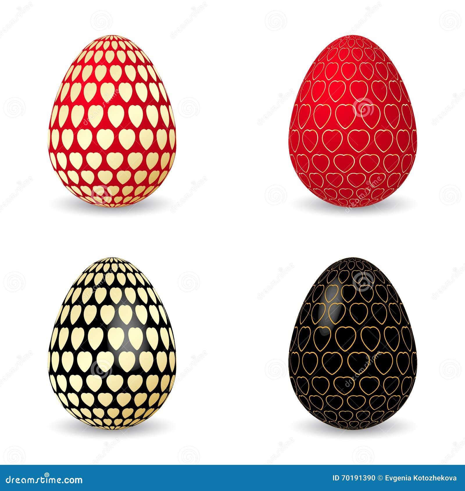 Vektorillustration av det svarta och röda ägget