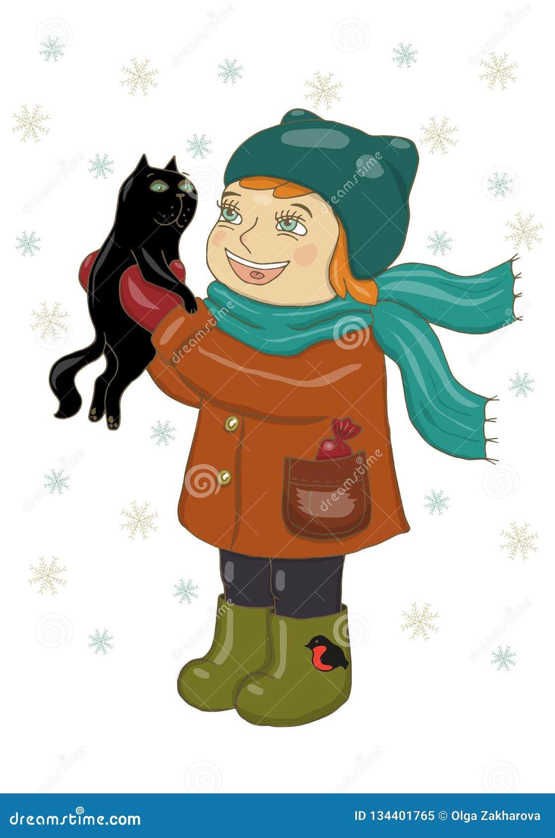 Vektorillustration av en flicka i vinterkläder som rymmer en svart katt Jubla, skratta, snöflingor faller Feriekort, lyckligt nyt