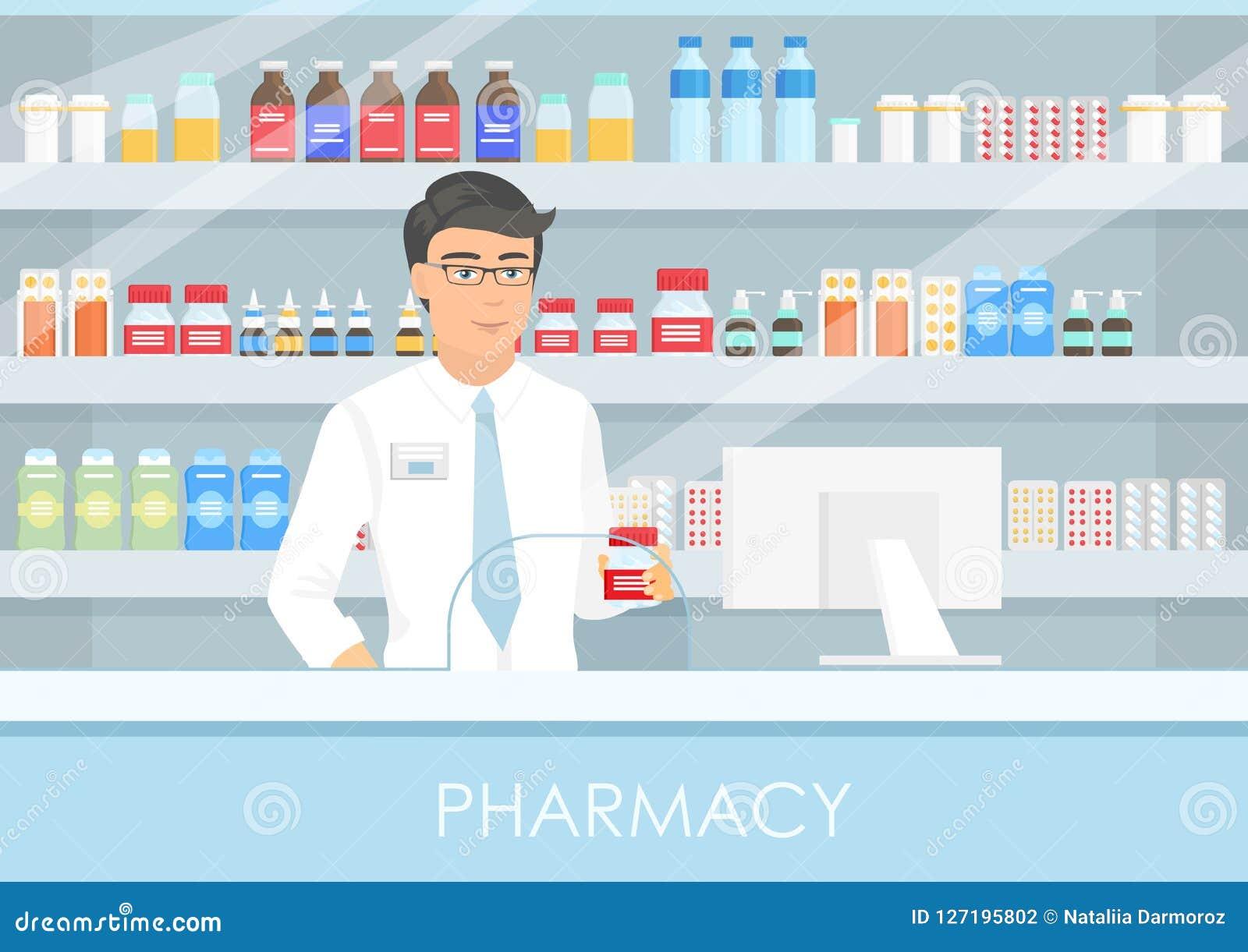 Vektorillustration av en stilig manlig apotekare på en apotekräknare en apotekare, en hylla av medicin, kapslar och