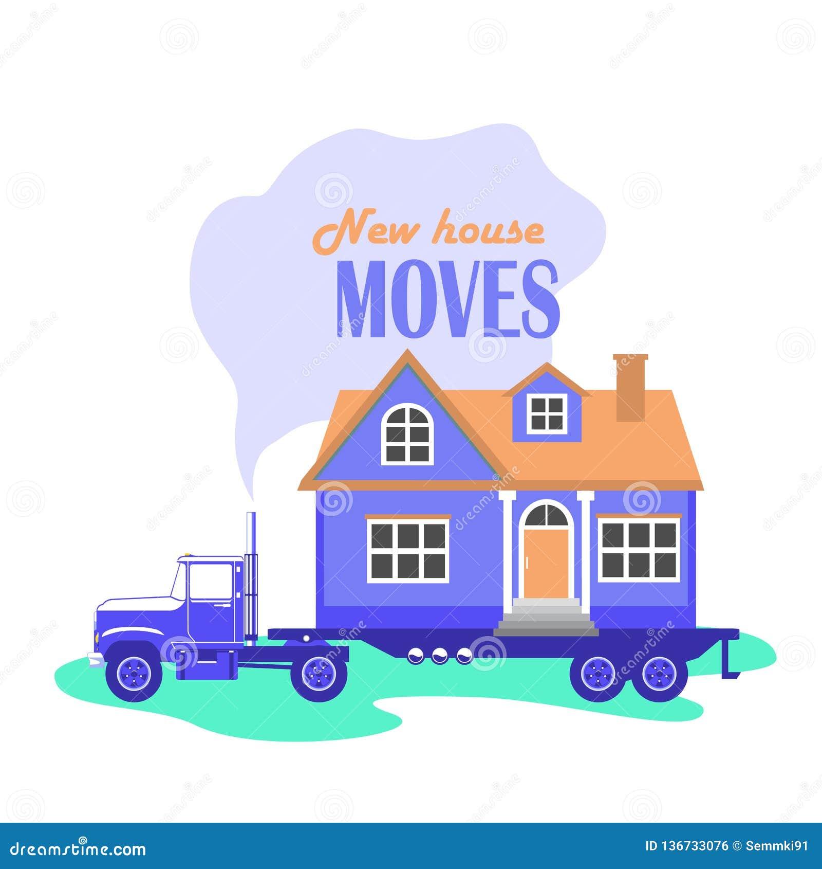 Vektorillustration av en stor lastbil som bär ett landshus, service för att flytta ett hus