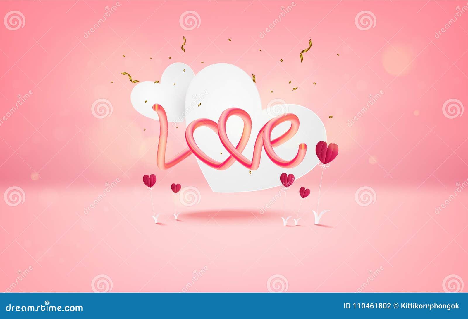 Vektorillustration av förälskelse- och valentindagen med textFÖRÄLSKELSE och
