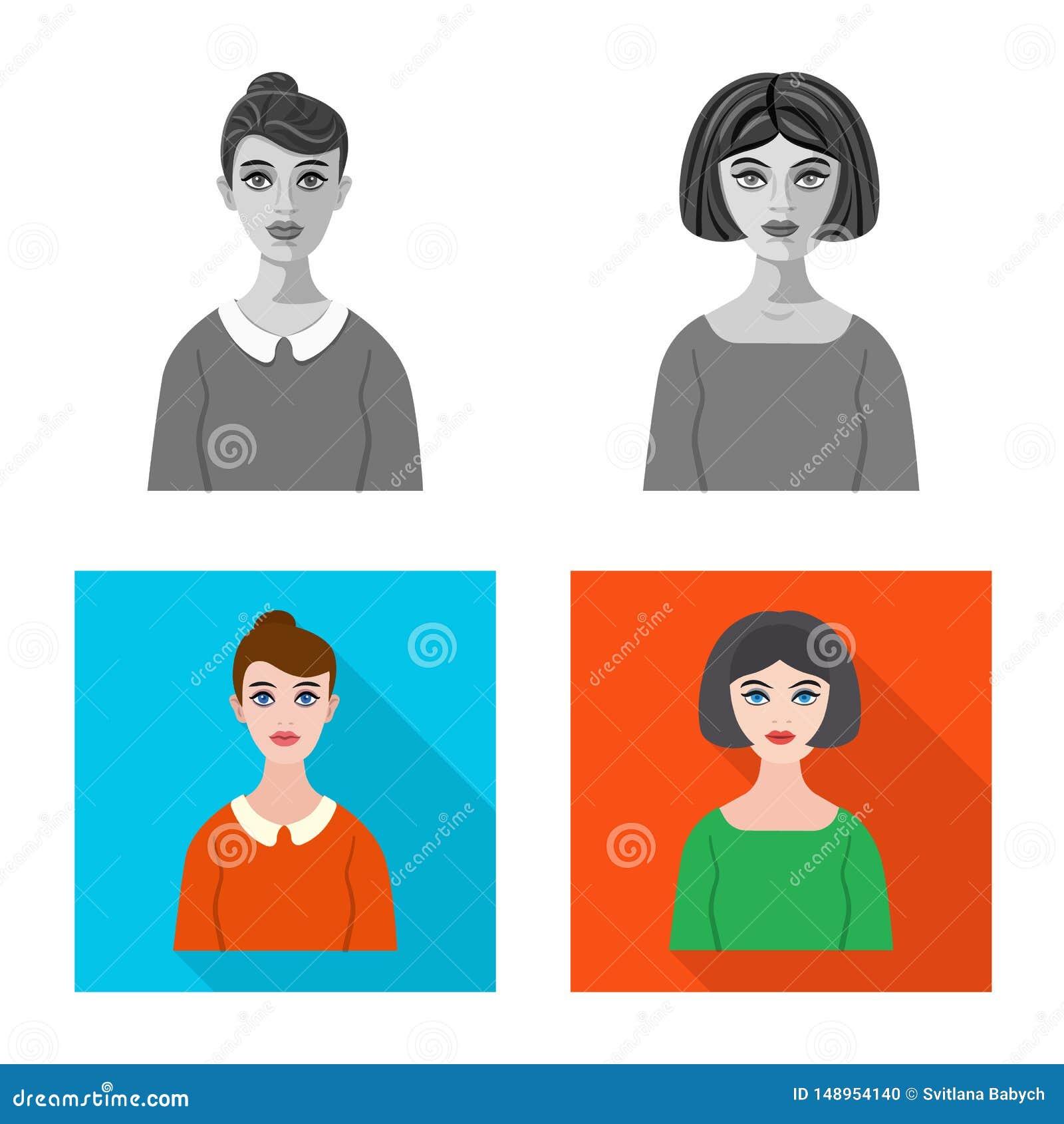 Vektorillustration av frisyr- och yrketecknet Samling av illustrationen f?r frisyr- och teckenmaterielvektor