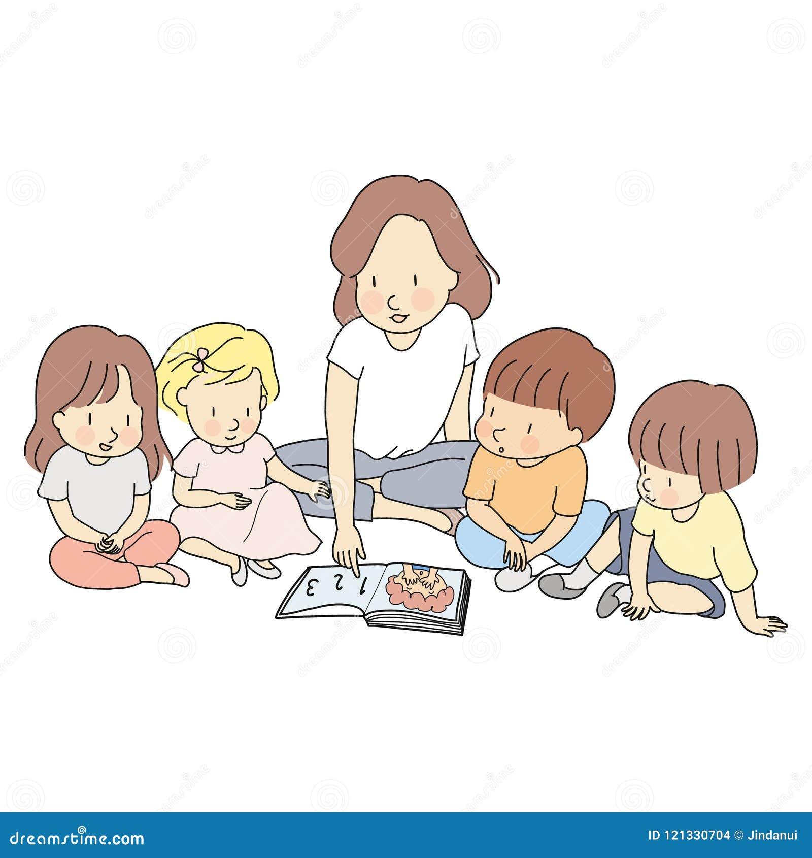 Vektorillustration av läraren & små studentläseböcker tillsammans Utveckling för tidig barndom, lära & utbildning
