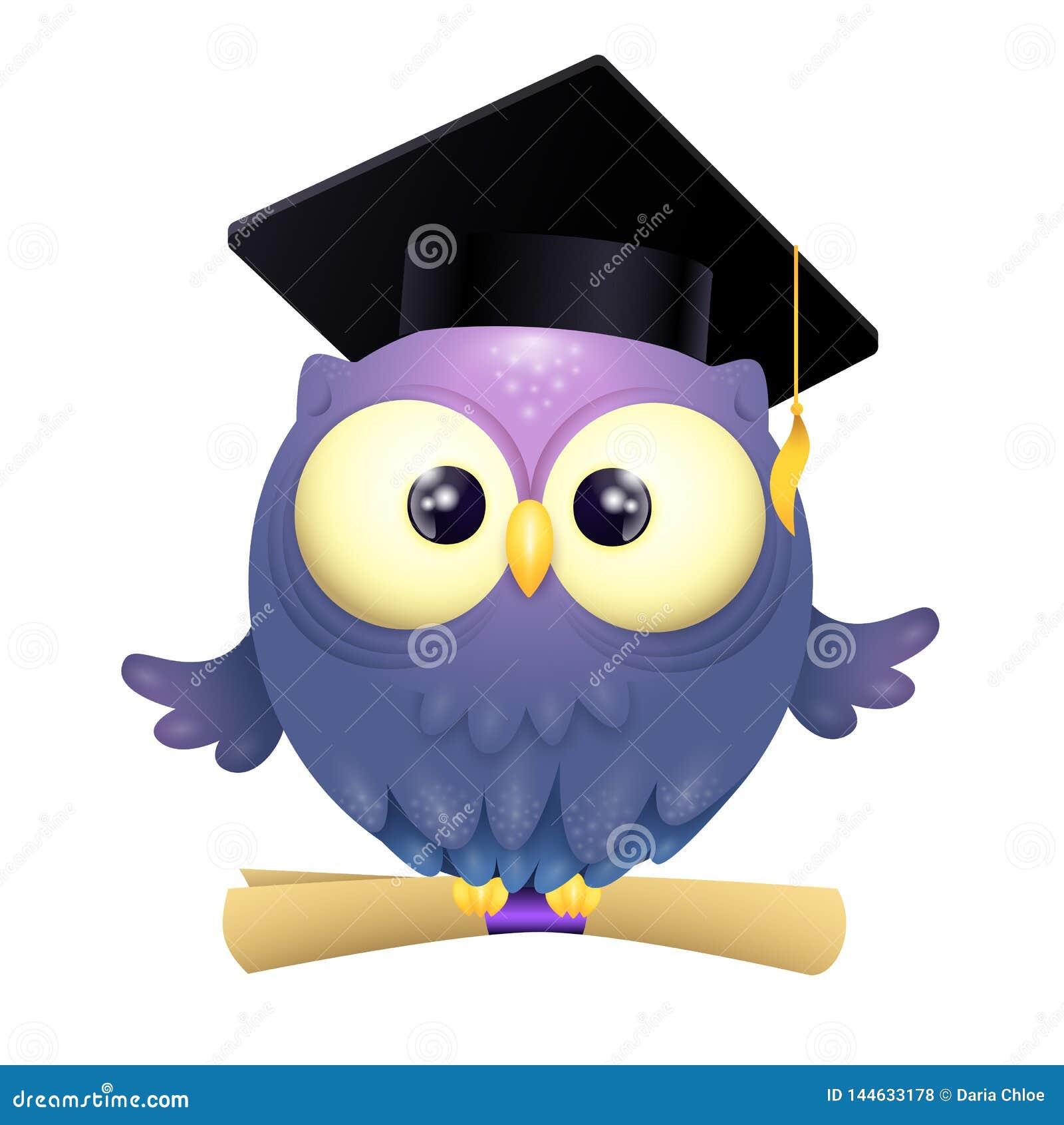 Vektorillustration av lock för avläggande av examen för gullig lillteuggla ett bärande och rymmadiplom, medan flyga