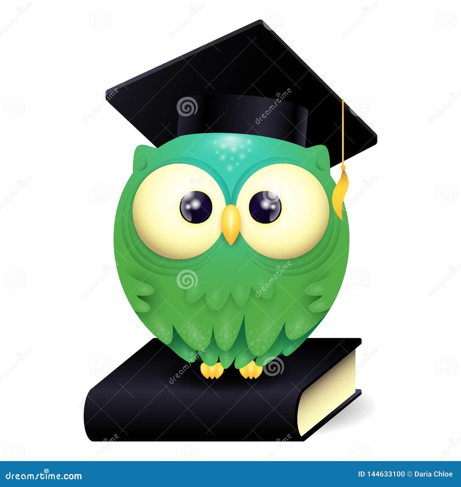 Vektorillustration av lock och att sitta för avläggande av examen för gullig lillteuggla ett bärande på en svart bok
