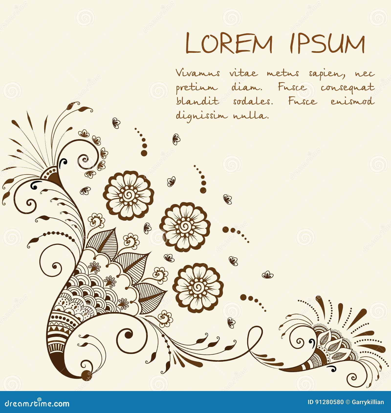 Vektorillustration av mehndiprydnaden Traditionell indisk stil, dekorativa blom- beståndsdelar för hennatatuering, klistermärkear