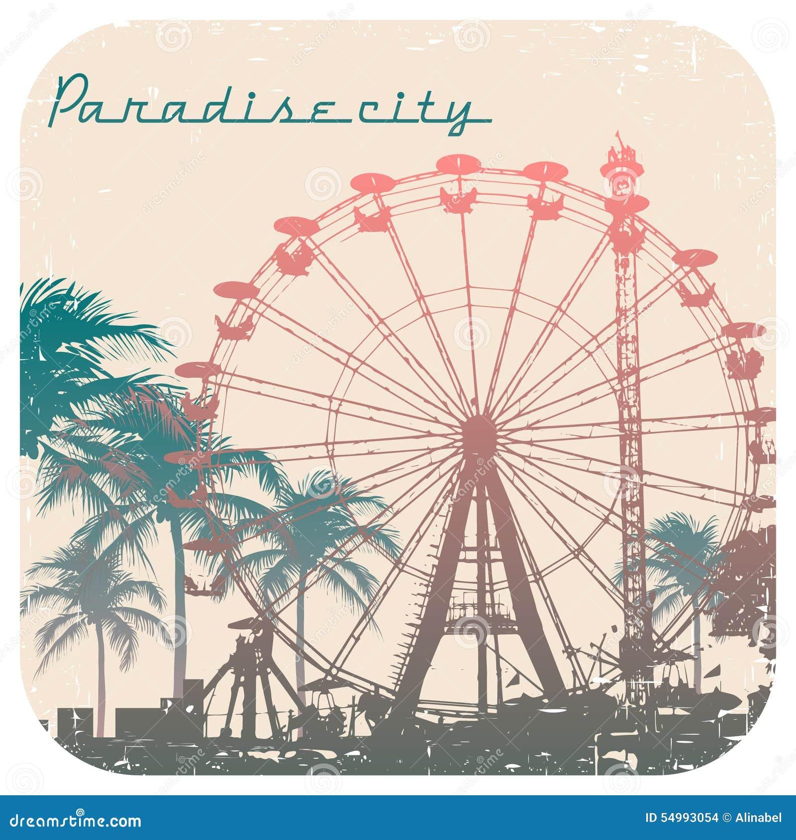 Vektorillustration av pariserhjulen och palmträdet