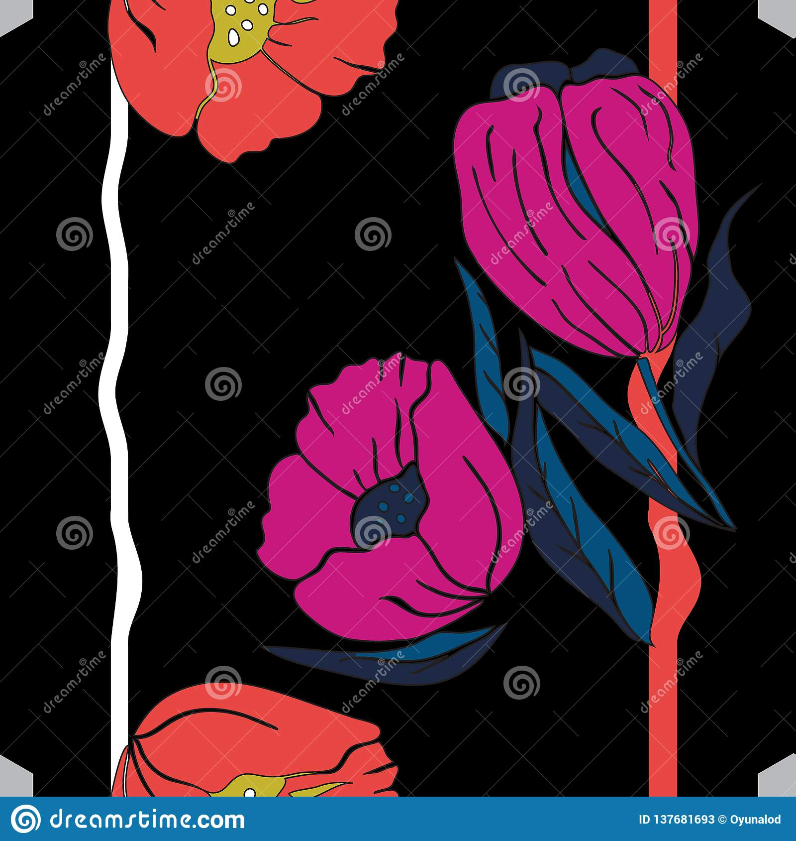 Vektorillustration av rosa, blåa och orange vallmo och tulpan