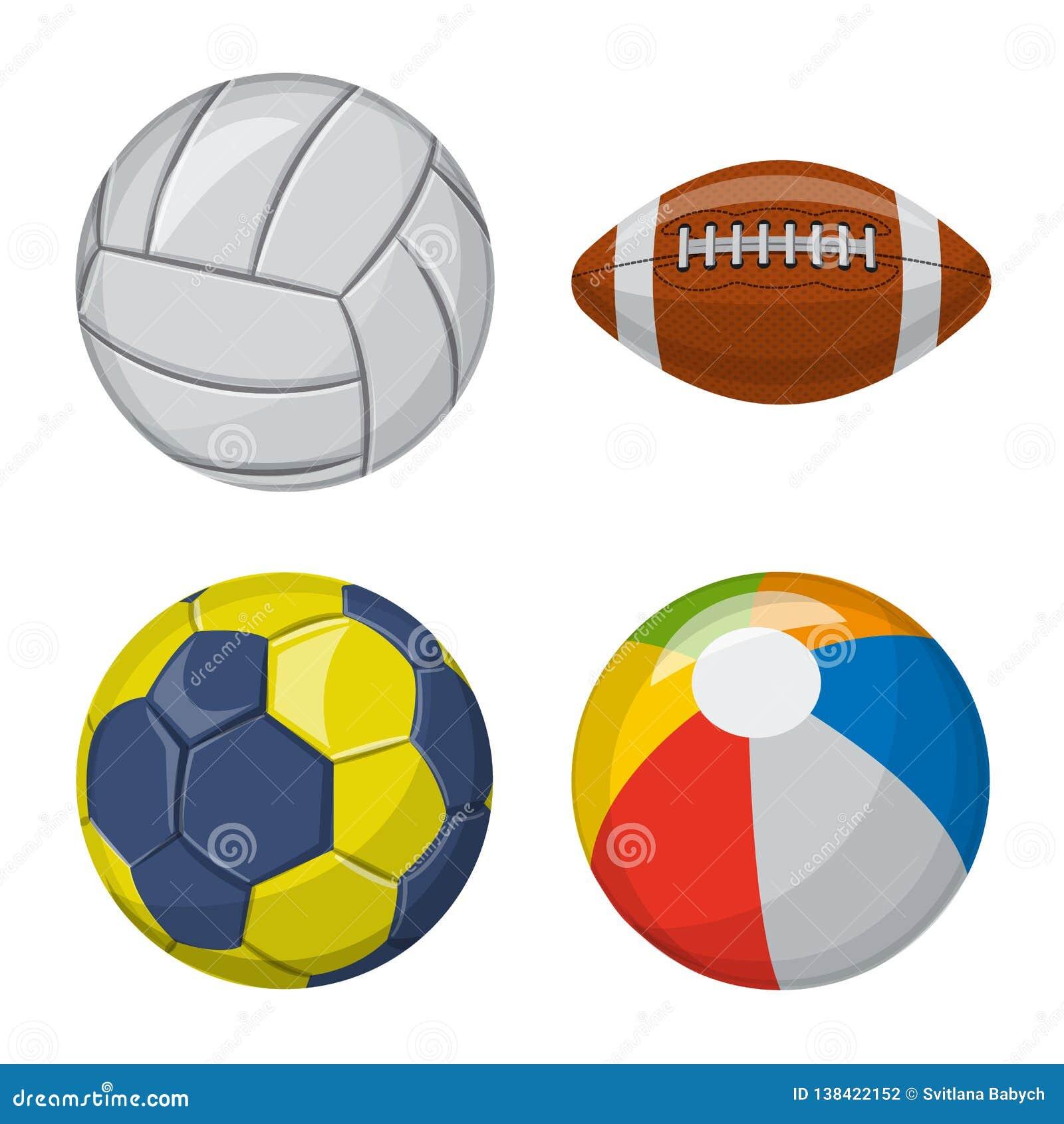Vektorillustration av sport- och bollsymbolen Uppsättning av sporten och den idrotts- materielvektorillustrationen