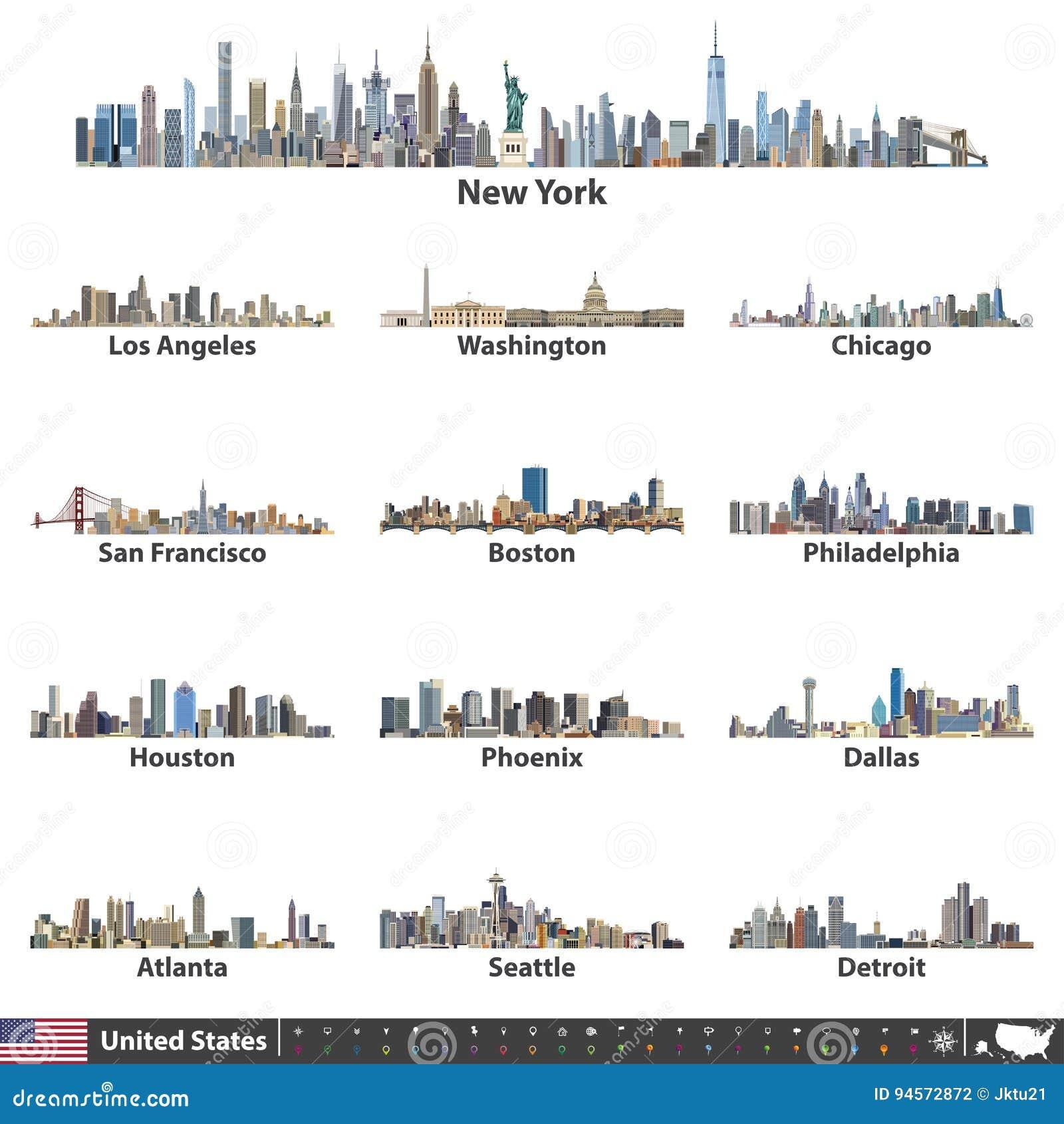 Vektorillustration av störst Förenta staternastadshorisonter Navigering-, läge- och loppsymboler; flagga och översikt av Förenta
