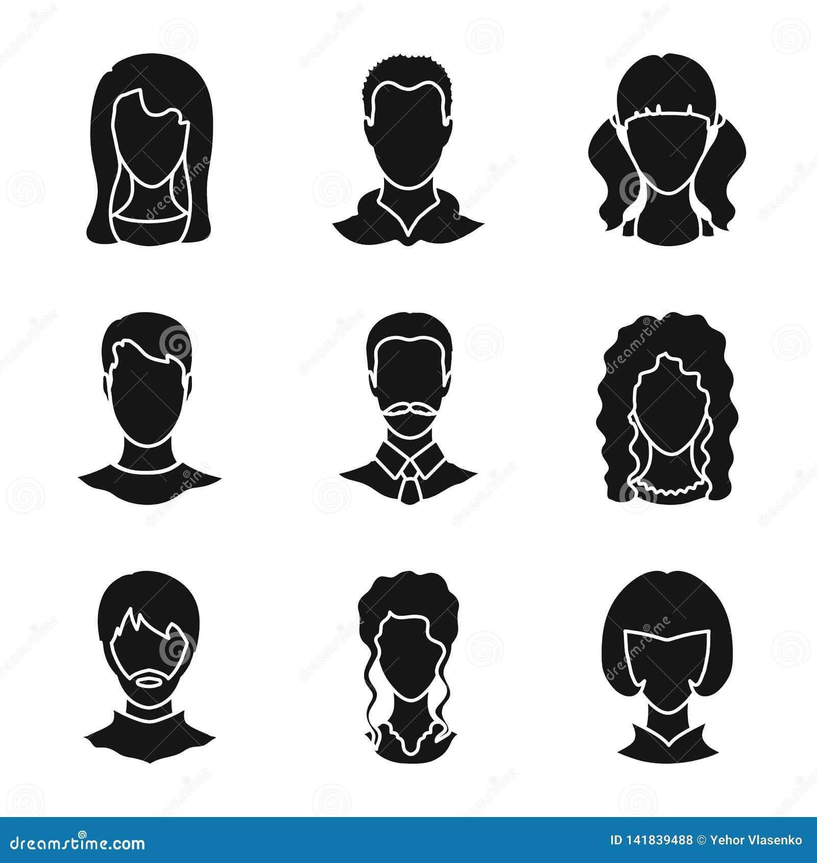 Vektorillustration av tecken- och profilsymbolet Ställ in av illustration för tecken- och attrappmaterielvektor