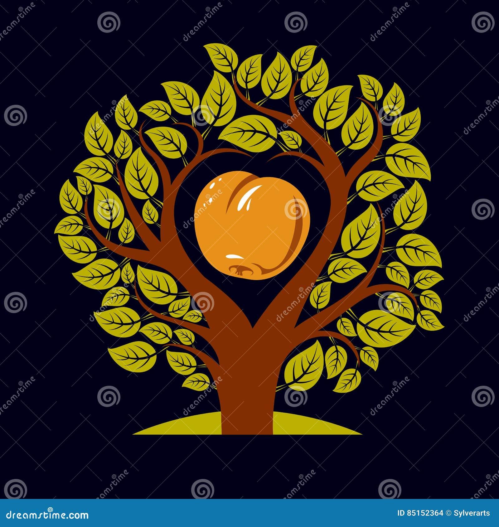 Vektorillustration av trädet med filialer i formen av hjärta