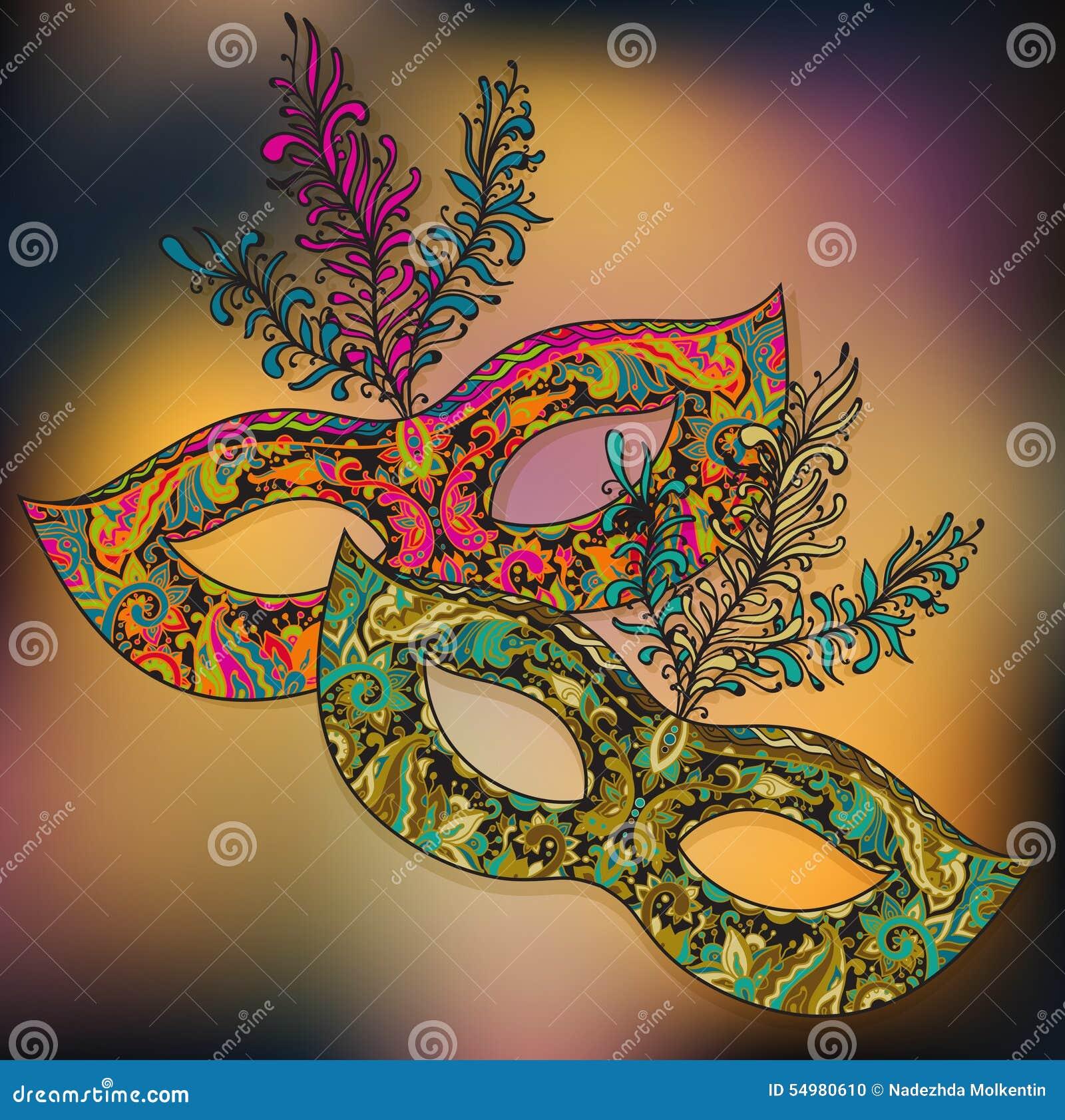 Vektorillustration av två blom- Venetian karnevalmaskeringar med f